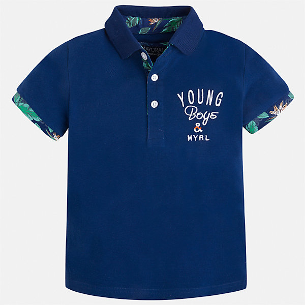 Футболка-поло для мальчика MayoralФутболки, поло и топы<br>Характеристики товара:<br><br>• цвет: синий<br>• состав: 100% хлопок<br>• отложной воротник<br>• короткие рукава<br>• застежка: пуговицы<br>• декорирована вышивкой<br>• страна бренда: Испания<br><br>Модная футболка-поло для мальчика может стать базовой вещью в гардеробе ребенка. Она отлично сочетается с брюками, шортами, джинсами и т.д. Универсальный крой и цвет позволяет подобрать к вещи низ разных расцветок. Практичное и стильное изделие! В составе материала - только натуральный хлопок, гипоаллергенный, приятный на ощупь, дышащий.<br><br>Одежда, обувь и аксессуары от испанского бренда Mayoral полюбились детям и взрослым по всему миру. Модели этой марки - стильные и удобные. Для их производства используются только безопасные, качественные материалы и фурнитура. Порадуйте ребенка модными и красивыми вещами от Mayoral! <br><br>Футболку-поло для мальчика от испанского бренда Mayoral (Майорал) можно купить в нашем интернет-магазине.<br>Ширина мм: 199; Глубина мм: 10; Высота мм: 161; Вес г: 151; Цвет: синий; Возраст от месяцев: 18; Возраст до месяцев: 24; Пол: Мужской; Возраст: Детский; Размер: 92,128,122,116,110,134,104,98; SKU: 5280367;