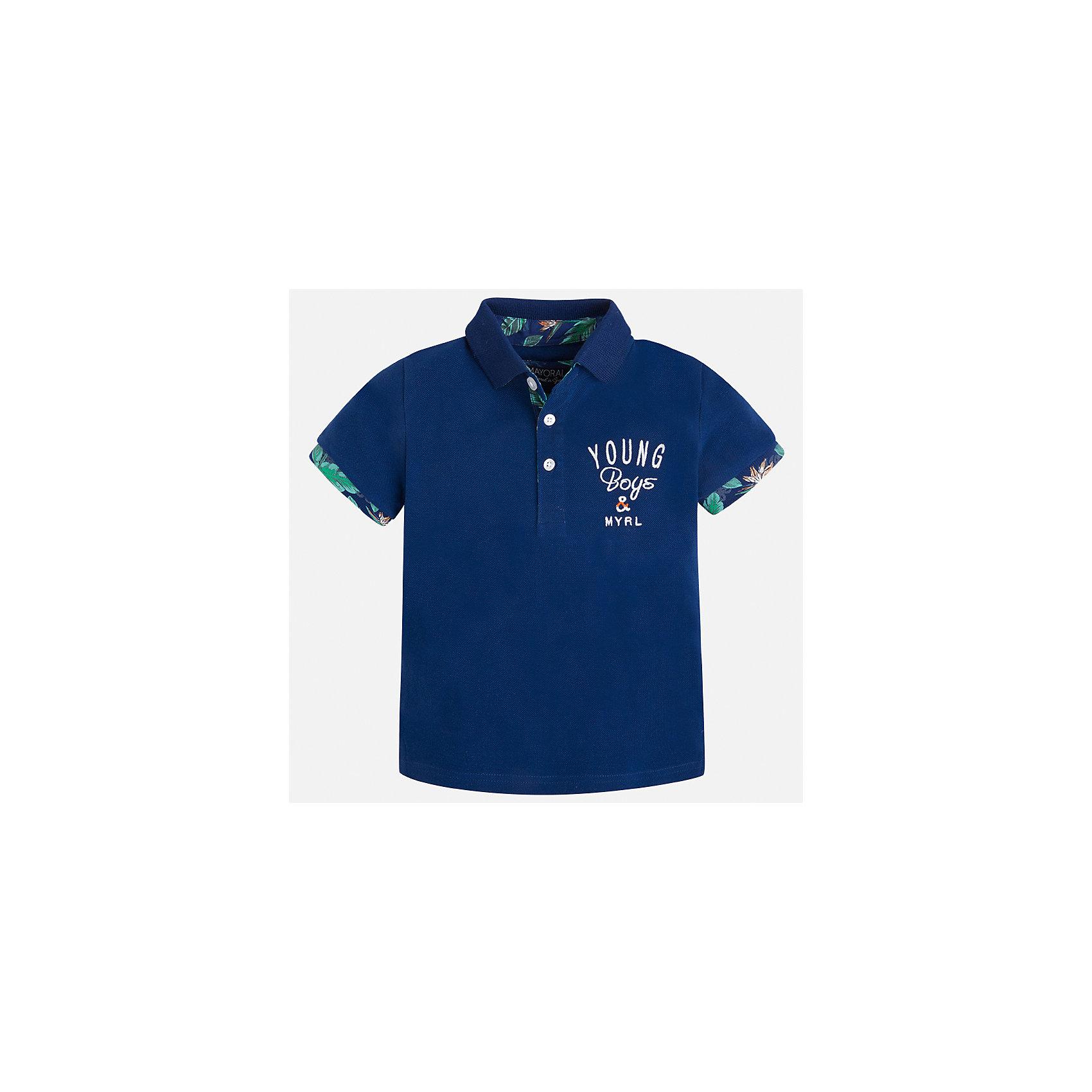 Футболка-поло для мальчика MayoralФутболки, поло и топы<br>Характеристики товара:<br><br>• цвет: синий<br>• состав: 100% хлопок<br>• отложной воротник<br>• короткие рукава<br>• застежка: пуговицы<br>• декорирована вышивкой<br>• страна бренда: Испания<br><br>Модная футболка-поло для мальчика может стать базовой вещью в гардеробе ребенка. Она отлично сочетается с брюками, шортами, джинсами и т.д. Универсальный крой и цвет позволяет подобрать к вещи низ разных расцветок. Практичное и стильное изделие! В составе материала - только натуральный хлопок, гипоаллергенный, приятный на ощупь, дышащий.<br><br>Одежда, обувь и аксессуары от испанского бренда Mayoral полюбились детям и взрослым по всему миру. Модели этой марки - стильные и удобные. Для их производства используются только безопасные, качественные материалы и фурнитура. Порадуйте ребенка модными и красивыми вещами от Mayoral! <br><br>Футболку-поло для мальчика от испанского бренда Mayoral (Майорал) можно купить в нашем интернет-магазине.<br><br>Ширина мм: 199<br>Глубина мм: 10<br>Высота мм: 161<br>Вес г: 151<br>Цвет: синий<br>Возраст от месяцев: 18<br>Возраст до месяцев: 24<br>Пол: Мужской<br>Возраст: Детский<br>Размер: 92,134,128,122,116,110,104,98<br>SKU: 5280367
