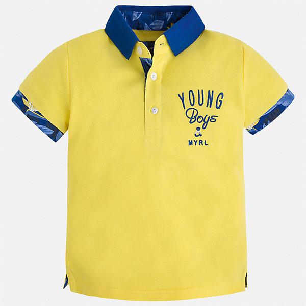 Футболка-поло для мальчика MayoralФутболки, поло и топы<br>Характеристики товара:<br><br>• цвет: желтый<br>• состав: 100% хлопок<br>• отложной воротник<br>• короткие рукава<br>• застежка: пуговицы<br>• декорирована вышивкой<br>• страна бренда: Испания<br><br>Модная футболка-поло для мальчика может стать базовой вещью в гардеробе ребенка. Она отлично сочетается с брюками, шортами, джинсами и т.д. Универсальный крой и цвет позволяет подобрать к вещи низ разных расцветок. Практичное и стильное изделие! В составе материала - только натуральный хлопок, гипоаллергенный, приятный на ощупь, дышащий.<br><br>Одежда, обувь и аксессуары от испанского бренда Mayoral полюбились детям и взрослым по всему миру. Модели этой марки - стильные и удобные. Для их производства используются только безопасные, качественные материалы и фурнитура. Порадуйте ребенка модными и красивыми вещами от Mayoral! <br><br>Футболку-поло для мальчика от испанского бренда Mayoral (Майорал) можно купить в нашем интернет-магазине.<br><br>Ширина мм: 199<br>Глубина мм: 10<br>Высота мм: 161<br>Вес г: 151<br>Цвет: желтый<br>Возраст от месяцев: 96<br>Возраст до месяцев: 108<br>Пол: Мужской<br>Возраст: Детский<br>Размер: 134,116,110,98,92,104,128,122<br>SKU: 5280376
