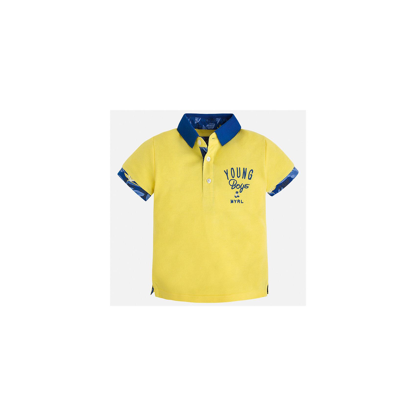 Футболка-поло для мальчика MayoralФутболки, поло и топы<br>Характеристики товара:<br><br>• цвет: желтый<br>• состав: 100% хлопок<br>• отложной воротник<br>• короткие рукава<br>• застежка: пуговицы<br>• декорирована вышивкой<br>• страна бренда: Испания<br><br>Модная футболка-поло для мальчика может стать базовой вещью в гардеробе ребенка. Она отлично сочетается с брюками, шортами, джинсами и т.д. Универсальный крой и цвет позволяет подобрать к вещи низ разных расцветок. Практичное и стильное изделие! В составе материала - только натуральный хлопок, гипоаллергенный, приятный на ощупь, дышащий.<br><br>Одежда, обувь и аксессуары от испанского бренда Mayoral полюбились детям и взрослым по всему миру. Модели этой марки - стильные и удобные. Для их производства используются только безопасные, качественные материалы и фурнитура. Порадуйте ребенка модными и красивыми вещами от Mayoral! <br><br>Футболку-поло для мальчика от испанского бренда Mayoral (Майорал) можно купить в нашем интернет-магазине.<br><br>Ширина мм: 199<br>Глубина мм: 10<br>Высота мм: 161<br>Вес г: 151<br>Цвет: желтый<br>Возраст от месяцев: 18<br>Возраст до месяцев: 24<br>Пол: Мужской<br>Возраст: Детский<br>Размер: 92,98,110,116,122,128,134,104<br>SKU: 5280376
