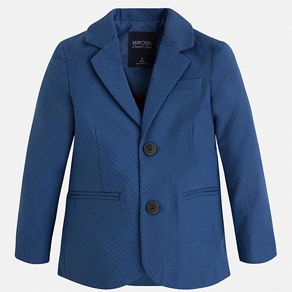 Пиджак для мальчика MayoralКостюмы и пиджаки<br>Характеристики товара:<br><br>• цвет: синий<br>• состав: 87% хлопок, 10% полиэстер, 3% эластан<br>• мелкий горох<br>• рукава длинные <br>• карманы<br>• пуговицы <br>• отложной воротник<br>• страна бренда: Испания<br><br>Удобный и красивый пиджак для мальчика поможет разнообразить гардероб ребенка и дополнить наряд. Он отлично сочетается с брюками классического кроя. Универсальный цвет позволяет подобрать к вещи низ различных расцветок. Модное и элегантное изделие. В составе материала - натуральный хлопок, гипоаллергенный, приятный на ощупь, дышащий.<br><br>Одежда, обувь и аксессуары от испанского бренда Mayoral полюбились детям и взрослым по всему миру. Модели этой марки - стильные и удобные. Для их производства используются только безопасные, качественные материалы и фурнитура. Порадуйте ребенка модными и красивыми вещами от Mayoral! <br><br>Пиджак для мальчика от испанского бренда Mayoral (Майорал) можно купить в нашем интернет-магазине.<br><br>Ширина мм: 174<br>Глубина мм: 10<br>Высота мм: 169<br>Вес г: 157<br>Цвет: синий<br>Возраст от месяцев: 18<br>Возраст до месяцев: 24<br>Пол: Мужской<br>Возраст: Детский<br>Размер: 92,122,98,104,110,116,128,134<br>SKU: 5280495