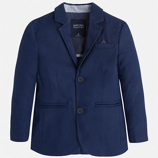 Пиджак для мальчика MayoralПиджаки и костюмы<br>Характеристики товара:<br><br>• цвет: синий<br>• состав: 78% хлопок, 20% лен, 2% эластан<br>• рукава длинные <br>• карманы<br>• пуговицы <br>• отложной воротник<br>• страна бренда: Испания<br><br>Удобный и красивый пиджак для мальчика поможет разнообразить гардероб ребенка и дополнить наряд. Он отлично сочетается с брюками классического кроя. Универсальный цвет позволяет подобрать к вещи низ различных расцветок. Модное и элегантное изделие. В составе материала - натуральный хлопок, гипоаллергенный, приятный на ощупь, дышащий.<br><br>Одежда, обувь и аксессуары от испанского бренда Mayoral полюбились детям и взрослым по всему миру. Модели этой марки - стильные и удобные. Для их производства используются только безопасные, качественные материалы и фурнитура. Порадуйте ребенка модными и красивыми вещами от Mayoral! <br><br>Пиджак для мальчика от испанского бренда Mayoral (Майорал) можно купить в нашем интернет-магазине.<br>Ширина мм: 174; Глубина мм: 10; Высота мм: 169; Вес г: 157; Цвет: синий; Возраст от месяцев: 18; Возраст до месяцев: 24; Пол: Мужской; Возраст: Детский; Размер: 92,128,134,110,98,104,116,122; SKU: 5280522;