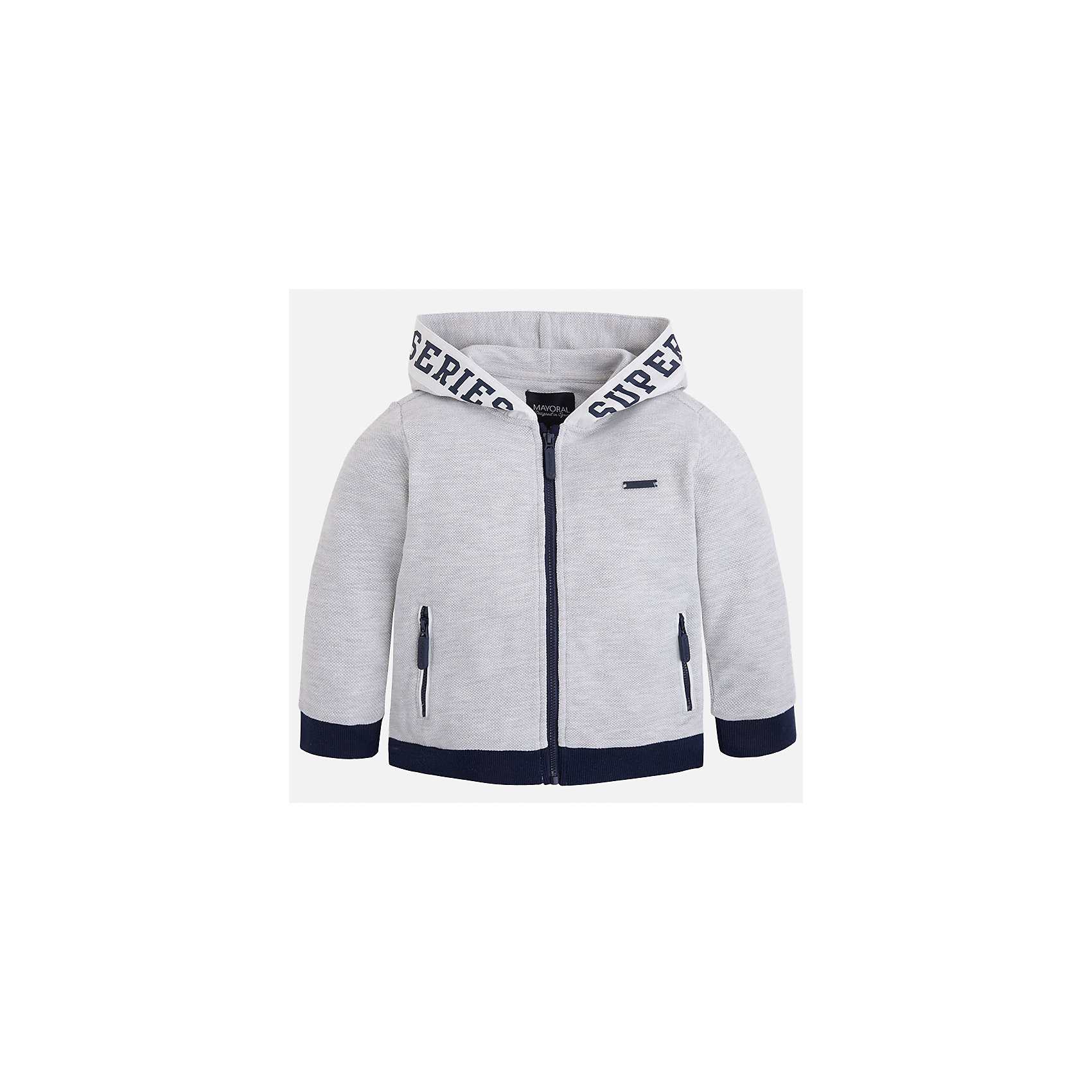 Куртка для мальчика MayoralХарактеристики товара:<br><br>• цвет: серый<br>• состав: 100% хлопок<br>• манжеты<br>• карманы<br>• молния<br>• капюшон<br>• страна бренда: Испания<br><br>Легкая толстовка для мальчика поможет разнообразить гардероб ребенка и обеспечить тепло в прохладную погоду. Она отлично сочетается и с джинсами, и с брюками. Универсальный цвет позволяет подобрать к вещи низ различных расцветок. Интересная отделка модели делает её нарядной и оригинальной. В составе материала - только натуральный хлопок, гипоаллергенный, приятный на ощупь, дышащий.<br><br>Одежда, обувь и аксессуары от испанского бренда Mayoral полюбились детям и взрослым по всему миру. Модели этой марки - стильные и удобные. Для их производства используются только безопасные, качественные материалы и фурнитура. Порадуйте ребенка модными и красивыми вещами от Mayoral! <br><br>Толстовку для мальчика от испанского бренда Mayoral (Майорал) можно купить в нашем интернет-магазине.<br><br>Ширина мм: 356<br>Глубина мм: 10<br>Высота мм: 245<br>Вес г: 519<br>Цвет: белый<br>Возраст от месяцев: 96<br>Возраст до месяцев: 108<br>Пол: Мужской<br>Возраст: Детский<br>Размер: 134,122,92,98,104,110,116,128<br>SKU: 5280648