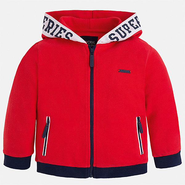 Толстовка для мальчика MayoralТолстовки<br>Характеристики товара:<br><br>• цвет: красный<br>• состав: 100% хлопок<br>• манжеты<br>• карманы<br>• молния<br>• капюшон<br>• страна бренда: Испания<br><br>Легкая куртка для мальчика поможет разнообразить гардероб ребенка и обеспечить тепло в прохладную погоду. Она отлично сочетается и с джинсами, и с брюками. Универсальный цвет позволяет подобрать к вещи низ различных расцветок. Интересная отделка модели делает её нарядной и оригинальной. В составе материала - только натуральный хлопок, гипоаллергенный, приятный на ощупь, дышащий.<br><br>Одежда, обувь и аксессуары от испанского бренда Mayoral полюбились детям и взрослым по всему миру. Модели этой марки - стильные и удобные. Для их производства используются только безопасные, качественные материалы и фурнитура. Порадуйте ребенка модными и красивыми вещами от Mayoral! <br><br>Куртку для мальчика от испанского бренда Mayoral (Майорал) можно купить в нашем интернет-магазине.<br><br>Ширина мм: 356<br>Глубина мм: 10<br>Высота мм: 245<br>Вес г: 519<br>Цвет: розовый<br>Возраст от месяцев: 72<br>Возраст до месяцев: 84<br>Пол: Мужской<br>Возраст: Детский<br>Размер: 122,128,134,98,104,92,110,116<br>SKU: 5280657