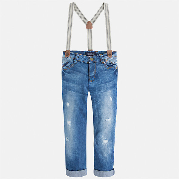 Джинсы с подтяжками для мальчика MayoralДжинсовая одежда<br>Характеристики товара:<br><br>• цвет: голубой<br>• состав: 98% хлопок, 2% эластан<br>• имитация потертостей<br>• шлевки<br>• карманы<br>• пояс с регулировкой объема<br>• подтяжки в комплекте<br>• страна бренда: Испания<br><br>Модные джинсы для мальчика смогут стать базовой вещью в гардеробе ребенка. Они отлично сочетаются с майками, футболками, рубашками и т.д. Универсальный крой и цвет позволяет подобрать к вещи верх разных расцветок. Практичное и стильное изделие! В составе материала - натуральный хлопок, гипоаллергенный, приятный на ощупь, дышащий.<br><br>Одежда, обувь и аксессуары от испанского бренда Mayoral полюбились детям и взрослым по всему миру. Модели этой марки - стильные и удобные. Для их производства используются только безопасные, качественные материалы и фурнитура. Порадуйте ребенка модными и красивыми вещами от Mayoral! <br><br>Джинсы для мальчика от испанского бренда Mayoral (Майорал) можно купить в нашем интернет-магазине.<br><br>Ширина мм: 215<br>Глубина мм: 88<br>Высота мм: 191<br>Вес г: 336<br>Цвет: голубой<br>Возраст от месяцев: 18<br>Возраст до месяцев: 24<br>Пол: Мужской<br>Возраст: Детский<br>Размер: 92,104,98,116,128,134,110,122<br>SKU: 5280873