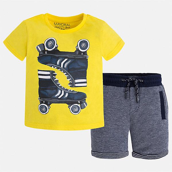 Комплект: футболка и шорты для мальчика MayoralКомплекты<br>Характеристики товара:<br><br>• цвет: жёлтый/синий<br>• состав: футболка - 100% хлопок, шорты: 56% хлопок, 44% полиэстер<br>• комплектация: шорты, футболка<br>• круглый горловой вырез<br>• декорирована принтом<br>• короткие рукава<br>• шорты - пояс со шнурком<br>• страна бренда: Испания<br><br>Стильная удобная футболка с принтом и шорты помогут разнообразить гардероб мальчика и удобно одеться. Универсальный цвет позволяет подобрать к вещам верхнюю одежду практически любой расцветки. Интересная отделка модели делает её нарядной и оригинальной. В составе материала - только натуральный хлопок, гипоаллергенный, приятный на ощупь, дышащий.<br><br>Одежда, обувь и аксессуары от испанского бренда Mayoral полюбились детям и взрослым по всему миру. Модели этой марки - стильные и удобные. Для их производства используются только безопасные, качественные материалы и фурнитура. Порадуйте ребенка модными и красивыми вещами от Mayoral! <br><br>Комплект для мальчика от испанского бренда Mayoral (Майорал) можно купить в нашем интернет-магазине.<br><br>Ширина мм: 191<br>Глубина мм: 10<br>Высота мм: 175<br>Вес г: 273<br>Цвет: желтый<br>Возраст от месяцев: 18<br>Возраст до месяцев: 24<br>Пол: Мужской<br>Возраст: Детский<br>Размер: 92,128,134,116,104,98,110,122<br>SKU: 5280937
