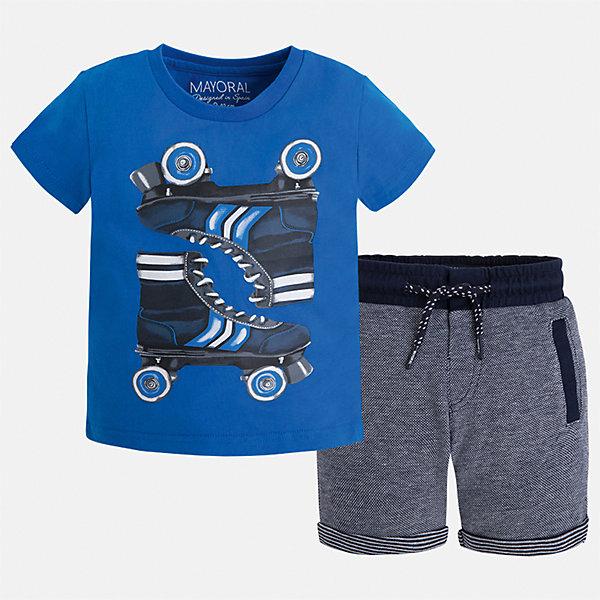 Комплект: футболка и шорты для мальчика MayoralКомплекты<br>Характеристики товара:<br><br>• цвет: голубой/синий<br>• состав: футболка - 100% хлопок, шорты: 56% хлопок, 44% полиэстер<br>• комплектация: шорты, футболка<br>• круглый горловой вырез<br>• декорирована принтом<br>• короткие рукава<br>• шорты - пояс со шнурком<br>• страна бренда: Испания<br><br>Стильная удобная футболка с принтом и шорты помогут разнообразить гардероб мальчика и удобно одеться. Универсальный цвет позволяет подобрать к вещам верхнюю одежду практически любой расцветки. Интересная отделка модели делает её нарядной и оригинальной. В составе материала - только натуральный хлопок, гипоаллергенный, приятный на ощупь, дышащий.<br><br>Одежда, обувь и аксессуары от испанского бренда Mayoral полюбились детям и взрослым по всему миру. Модели этой марки - стильные и удобные. Для их производства используются только безопасные, качественные материалы и фурнитура. Порадуйте ребенка модными и красивыми вещами от Mayoral! <br><br>Комплект для мальчика от испанского бренда Mayoral (Майорал) можно купить в нашем интернет-магазине.<br>Ширина мм: 191; Глубина мм: 10; Высота мм: 175; Вес г: 273; Цвет: синий; Возраст от месяцев: 24; Возраст до месяцев: 36; Пол: Мужской; Возраст: Детский; Размер: 98,134,92,122,104,110,116,128; SKU: 5280946;