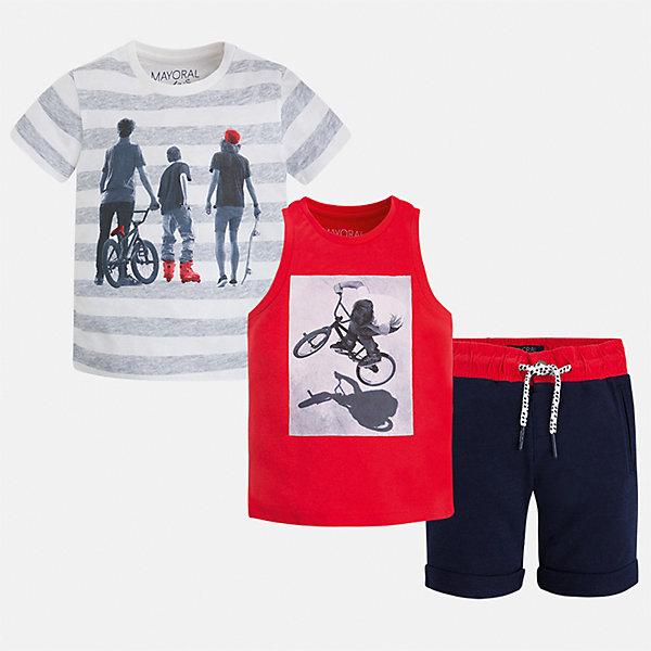 Комплект: футболка, майка и шорты для мальчика MayoralКомплекты<br>Характеристики товара:<br><br>• цвет: красный/синий/серый<br>• состав: 100% хлопок<br>• комплектация: шорты, футболка, майка<br>• круглый горловой вырез<br>• футболка декорированы принтом<br>• короткие рукава<br>• шорты - пояс со шнурком<br>• страна бренда: Испания<br><br>Стильная удобная футболка с принтом и шорты с майкой помогут разнообразить гардероб мальчика и удобно одеться. Универсальный цвет позволяет подобрать к вещам верхнюю одежду практически любой расцветки. Интересная отделка модели делает её нарядной и оригинальной. В составе материала - только натуральный хлопок, гипоаллергенный, приятный на ощупь, дышащий.<br><br>Одежда, обувь и аксессуары от испанского бренда Mayoral полюбились детям и взрослым по всему миру. Модели этой марки - стильные и удобные. Для их производства используются только безопасные, качественные материалы и фурнитура. Порадуйте ребенка модными и красивыми вещами от Mayoral! <br><br>Комплект для мальчика от испанского бренда Mayoral (Майорал) можно купить в нашем интернет-магазине.<br><br>Ширина мм: 157<br>Глубина мм: 13<br>Высота мм: 119<br>Вес г: 200<br>Цвет: розовый<br>Возраст от месяцев: 24<br>Возраст до месяцев: 36<br>Пол: Мужской<br>Возраст: Детский<br>Размер: 98,134,110,92,104,116,122,128<br>SKU: 5280964