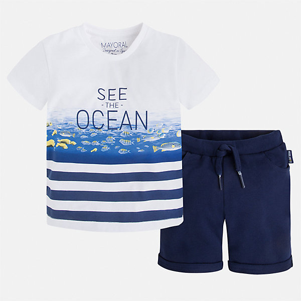 Комплект: футболка и шорты для мальчика MayoralКомплекты<br>Характеристики товара:<br><br>• цвет: белый/синий<br>• состав: 100% хлопок<br>• комплектация: футболка, шорты<br>• футболка с принтом<br>• отложной воротник<br>• шорты с карманами<br>• пояс - мягкая резинка и шнурок<br>• отвороты<br>• страна бренда: Испания<br><br>Красивый качественный комплект для мальчика поможет разнообразить гардероб ребенка и удобно одеться в теплую погоду. Он отлично сочетается с другими предметами. Универсальный цвет позволяет подобрать к вещам верхнюю одежду практически любой расцветки. Интересная отделка модели делает её нарядной и оригинальной. В составе материала - только натуральный хлопок, гипоаллергенный, приятный на ощупь, дышащий.<br><br>Одежда, обувь и аксессуары от испанского бренда Mayoral полюбились детям и взрослым по всему миру. Модели этой марки - стильные и удобные. Для их производства используются только безопасные, качественные материалы и фурнитура. Порадуйте ребенка модными и красивыми вещами от Mayoral! <br><br>Комплект: бриджи и футболка для мальчика от испанского бренда Mayoral (Майорал) можно купить в нашем интернет-магазине.<br><br>Ширина мм: 191<br>Глубина мм: 10<br>Высота мм: 175<br>Вес г: 273<br>Цвет: синий<br>Возраст от месяцев: 18<br>Возраст до месяцев: 24<br>Пол: Мужской<br>Возраст: Детский<br>Размер: 92,122,134,128,116,110,104,98<br>SKU: 5281009