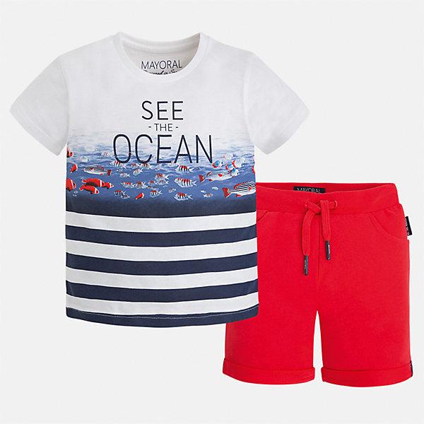 Комплект: бриджи и футболка для мальчика MayoralКомплекты<br>Характеристики товара:<br><br>• цвет: белый/красный<br>• состав: 100% хлопок<br>• комплектация: футболка, шорты<br>• футболка с принтом<br>• отложной воротник<br>• шорты с карманами<br>• пояс - мягкая резинка и шнурок<br>• отвороты<br>• страна бренда: Испания<br><br>Красивый качественный комплект для мальчика поможет разнообразить гардероб ребенка и удобно одеться в теплую погоду. В составе материала - только натуральный хлопок, гипоаллергенный, приятный на ощупь, дышащий.<br><br>Комплект: бриджи и футболка для мальчика от испанского бренда Mayoral (Майорал) можно купить в нашем интернет-магазине.<br><br>Ширина мм: 191<br>Глубина мм: 10<br>Высота мм: 175<br>Вес г: 273<br>Цвет: розовый<br>Возраст от месяцев: 18<br>Возраст до месяцев: 24<br>Пол: Мужской<br>Возраст: Детский<br>Размер: 92,134,98,104,110,116,122,128<br>SKU: 5281018