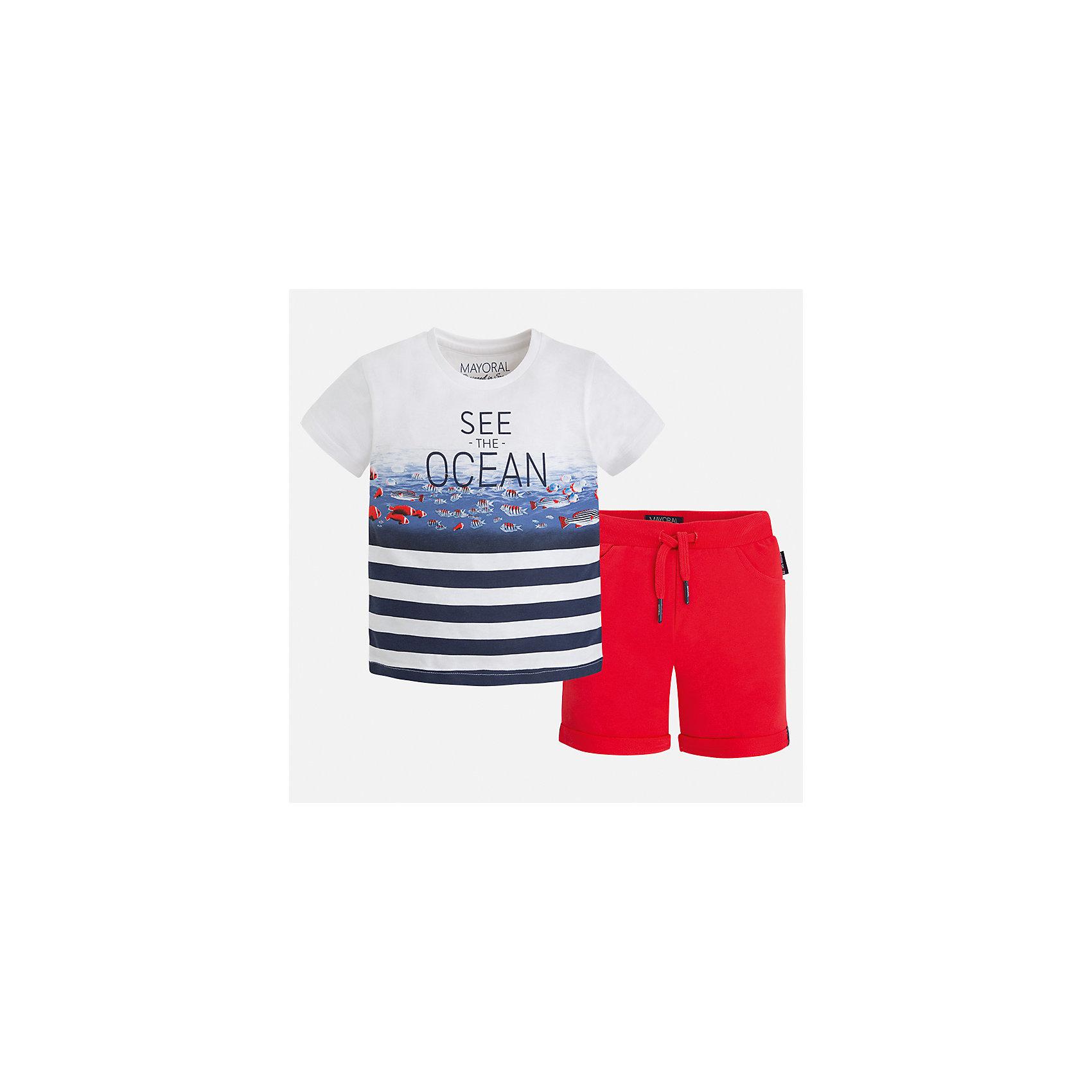 Комплект: бриджи и футболка для мальчика MayoralКомплекты<br>Характеристики товара:<br><br>• цвет: белый/красный<br>• состав: 100% хлопок<br>• комплектация: футболка, шорты<br>• футболка с принтом<br>• отложной воротник<br>• шорты с карманами<br>• пояс - мягкая резинка и шнурок<br>• отвороты<br>• страна бренда: Испания<br><br>Красивый качественный комплект для мальчика поможет разнообразить гардероб ребенка и удобно одеться в теплую погоду. В составе материала - только натуральный хлопок, гипоаллергенный, приятный на ощупь, дышащий.<br><br>Комплект: бриджи и футболка для мальчика от испанского бренда Mayoral (Майорал) можно купить в нашем интернет-магазине.<br><br>Ширина мм: 191<br>Глубина мм: 10<br>Высота мм: 175<br>Вес г: 273<br>Цвет: розовый<br>Возраст от месяцев: 24<br>Возраст до месяцев: 36<br>Пол: Мужской<br>Возраст: Детский<br>Размер: 98,128,122,116,110,104,92,134<br>SKU: 5281018