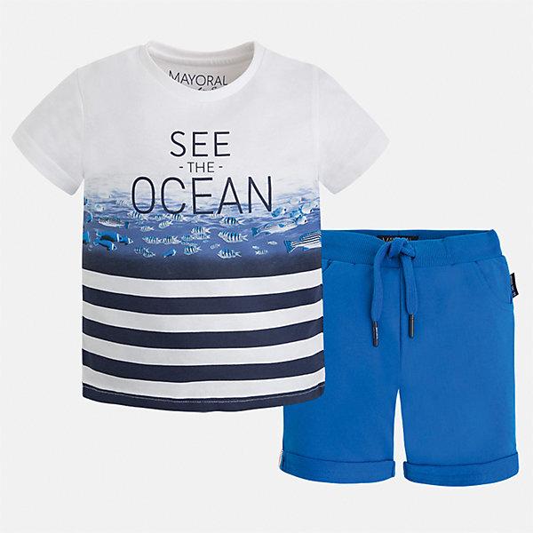Комплект: бриджи и футболка для мальчика MayoralКомплекты<br>Характеристики товара:<br><br>• цвет: белый/голубой<br>• состав: 100% хлопок<br>• комплектация: футболка, шорты<br>• футболка с принтом<br>• отложной воротник<br>• шорты с карманами<br>• пояс - мягкая резинка и шнурок<br>• отвороты<br>• страна бренда: Испания<br><br>Красивый качественный комплект для мальчика поможет разнообразить гардероб ребенка и удобно одеться в теплую погоду. Интересная отделка модели делает её нарядной и оригинальной. В составе материала - только натуральный хлопок, гипоаллергенный, приятный на ощупь, дышащий.<br><br>Комплект: бриджи и футболка для мальчика от испанского бренда Mayoral (Майорал) можно купить в нашем интернет-магазине.<br>Ширина мм: 191; Глубина мм: 10; Высота мм: 175; Вес г: 273; Цвет: синий; Возраст от месяцев: 18; Возраст до месяцев: 24; Пол: Мужской; Возраст: Детский; Размер: 92,110,116,122,128,134,104,98; SKU: 5281027;