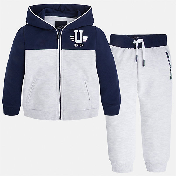 Спортивный костюм для мальчика MayoralКомплекты<br>Характеристики товара:<br><br>• цвет: белый/синий<br>• состав: 60% хлопок, 40% полиэстер<br>• комплектация: курточка, штаны<br>• куртка декорирована принтом<br>• карманы<br>• капюшон<br>• штаны - пояс на шнурке<br>• манжеты<br>• страна бренда: Испания<br><br>Стильный качественный спортивный костюм для мальчика поможет разнообразить гардероб ребенка и удобно одеться. Курточка и штаны отлично сочетаются с другими предметами. Универсальный цвет позволяет подобрать к вещам верхнюю одежду практически любой расцветки. Интересная отделка модели делает её нарядной и оригинальной. В составе материала - натуральный хлопок, гипоаллергенный, приятный на ощупь, дышащий.<br><br>Одежда, обувь и аксессуары от испанского бренда Mayoral полюбились детям и взрослым по всему миру. Модели этой марки - стильные и удобные. Для их производства используются только безопасные, качественные материалы и фурнитура. Порадуйте ребенка модными и красивыми вещами от Mayoral! <br><br>Спортивный костюм для мальчика от испанского бренда Mayoral (Майорал) можно купить в нашем интернет-магазине.<br><br>Ширина мм: 247<br>Глубина мм: 16<br>Высота мм: 140<br>Вес г: 225<br>Цвет: белый<br>Возраст от месяцев: 18<br>Возраст до месяцев: 24<br>Пол: Мужской<br>Возраст: Детский<br>Размер: 104,122,98,110,134,128,116,92<br>SKU: 5281162