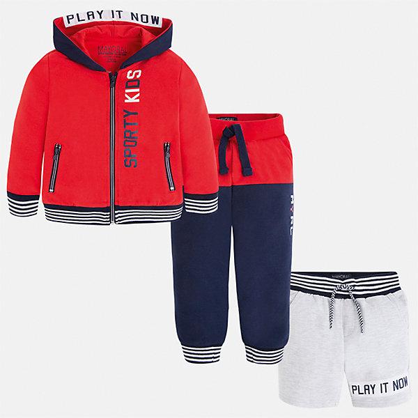 Спортивный костюм для мальчика MayoralКомплекты<br>Характеристики товара:<br><br>• цвет: красный/синий/серый<br>• состав: 60% хлопок, 40% полиэстер<br>• комплектация: курточка, штаны, шорты<br>• декорирован принтом<br>• карманы<br>• капюшон<br>• штаны, шорты - пояс на шнурке<br>• манжеты<br>• страна бренда: Испания<br><br>Стильный качественный спортивный костюм для мальчика поможет разнообразить гардероб ребенка и удобно одеться. Курточка, шорты и штаны отлично сочетаются с другими предметами. Универсальный цвет позволяет подобрать к вещам верхнюю одежду практически любой расцветки. Интересная отделка модели делает её нарядной и оригинальной. В составе материала - натуральный хлопок, гипоаллергенный, приятный на ощупь, дышащий.<br><br>Одежда, обувь и аксессуары от испанского бренда Mayoral полюбились детям и взрослым по всему миру. Модели этой марки - стильные и удобные. Для их производства используются только безопасные, качественные материалы и фурнитура. Порадуйте ребенка модными и красивыми вещами от Mayoral! <br><br>Спортивный костюм для мальчика от испанского бренда Mayoral (Майорал) можно купить в нашем интернет-магазине.<br>Ширина мм: 247; Глубина мм: 16; Высота мм: 140; Вес г: 225; Цвет: розовый; Возраст от месяцев: 18; Возраст до месяцев: 24; Пол: Мужской; Возраст: Детский; Размер: 92,134,98,104,110,116,122,128; SKU: 5281207;