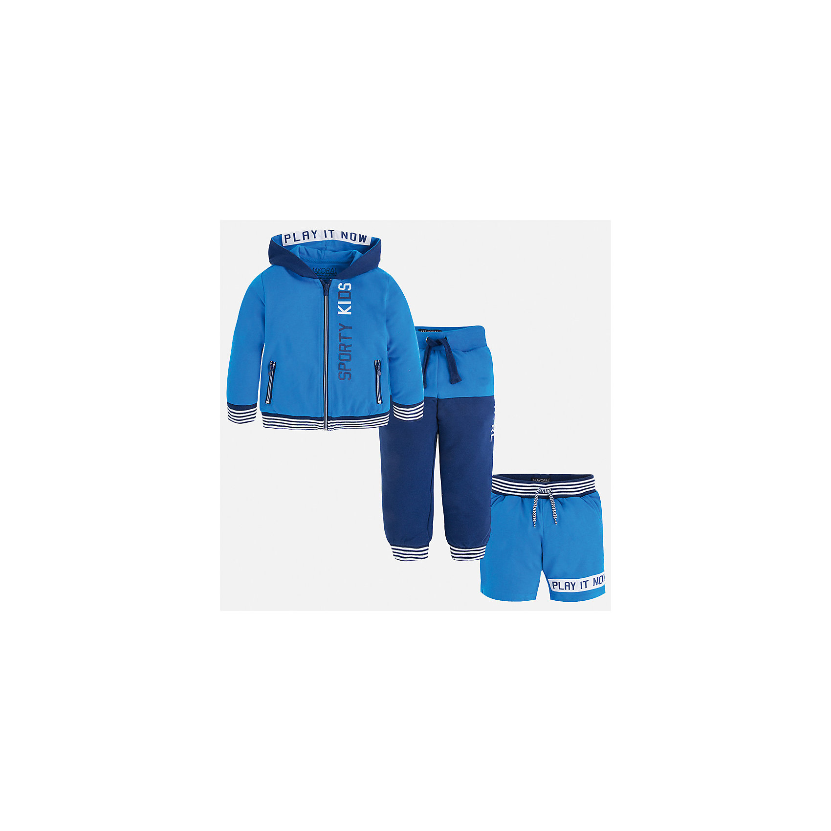 Спортивный костюм для мальчика MayoralКомплекты<br>Характеристики товара:<br><br>• цвет: голубой/синий<br>• состав: 60% хлопок, 40% полиэстер<br>• комплектация: курточка, штаны, шорты<br>• декорирован принтом<br>• карманы<br>• капюшон<br>• штаны, шорты - пояс на шнурке<br>• манжеты<br>• страна бренда: Испания<br><br>Стильный качественный спортивный костюм для мальчика поможет разнообразить гардероб ребенка и удобно одеться. Курточка, шорты и штаны отлично сочетаются с другими предметами. Универсальный цвет позволяет подобрать к вещам верхнюю одежду практически любой расцветки. Интересная отделка модели делает её нарядной и оригинальной. В составе материала - натуральный хлопок, гипоаллергенный, приятный на ощупь, дышащий.<br><br>Одежда, обувь и аксессуары от испанского бренда Mayoral полюбились детям и взрослым по всему миру. Модели этой марки - стильные и удобные. Для их производства используются только безопасные, качественные материалы и фурнитура. Порадуйте ребенка модными и красивыми вещами от Mayoral! <br><br>Спортивный костюм для мальчика от испанского бренда Mayoral (Майорал) можно купить в нашем интернет-магазине.<br><br>Ширина мм: 247<br>Глубина мм: 16<br>Высота мм: 140<br>Вес г: 225<br>Цвет: синий<br>Возраст от месяцев: 24<br>Возраст до месяцев: 36<br>Пол: Мужской<br>Возраст: Детский<br>Размер: 98,92,104,110,116,122,128,134<br>SKU: 5281216