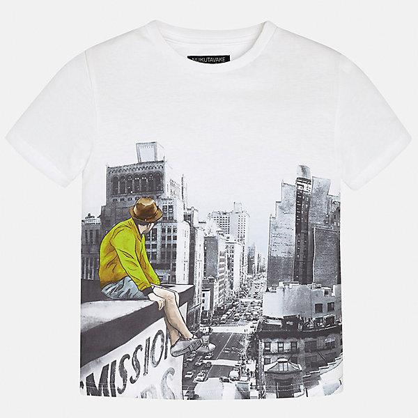 Футболка для мальчика MayoralФутболки, поло и топы<br>Характеристики товара:<br><br>• цвет: белый<br>• состав: 100% хлопок<br>• круглый горловой вырез<br>• декорирована принтом<br>• короткие рукава<br>• мягкая отделка горловины<br>• страна бренда: Испания<br><br>Стильная удобная футболка с принтом поможет разнообразить гардероб мальчика. Она отлично сочетается с брюками, шортами, джинсами. Универсальный крой и цвет позволяет подобрать к вещи низ разных расцветок. Практичное и стильное изделие! Хорошо смотрится и комфортно сидит на детях. В составе материала - натуральный хлопок, гипоаллергенный, приятный на ощупь, дышащий. <br><br>Одежда, обувь и аксессуары от испанского бренда Mayoral полюбились детям и взрослым по всему миру. Модели этой марки - стильные и удобные. Для их производства используются только безопасные, качественные материалы и фурнитура. Порадуйте ребенка модными и красивыми вещами от Mayoral! <br><br>Футболку для мальчика от испанского бренда Mayoral (Майорал) можно купить в нашем интернет-магазине.<br>Ширина мм: 199; Глубина мм: 10; Высота мм: 161; Вес г: 151; Цвет: зеленый; Возраст от месяцев: 144; Возраст до месяцев: 156; Пол: Мужской; Возраст: Детский; Размер: 164,128/134,170,158,152,140; SKU: 5281237;