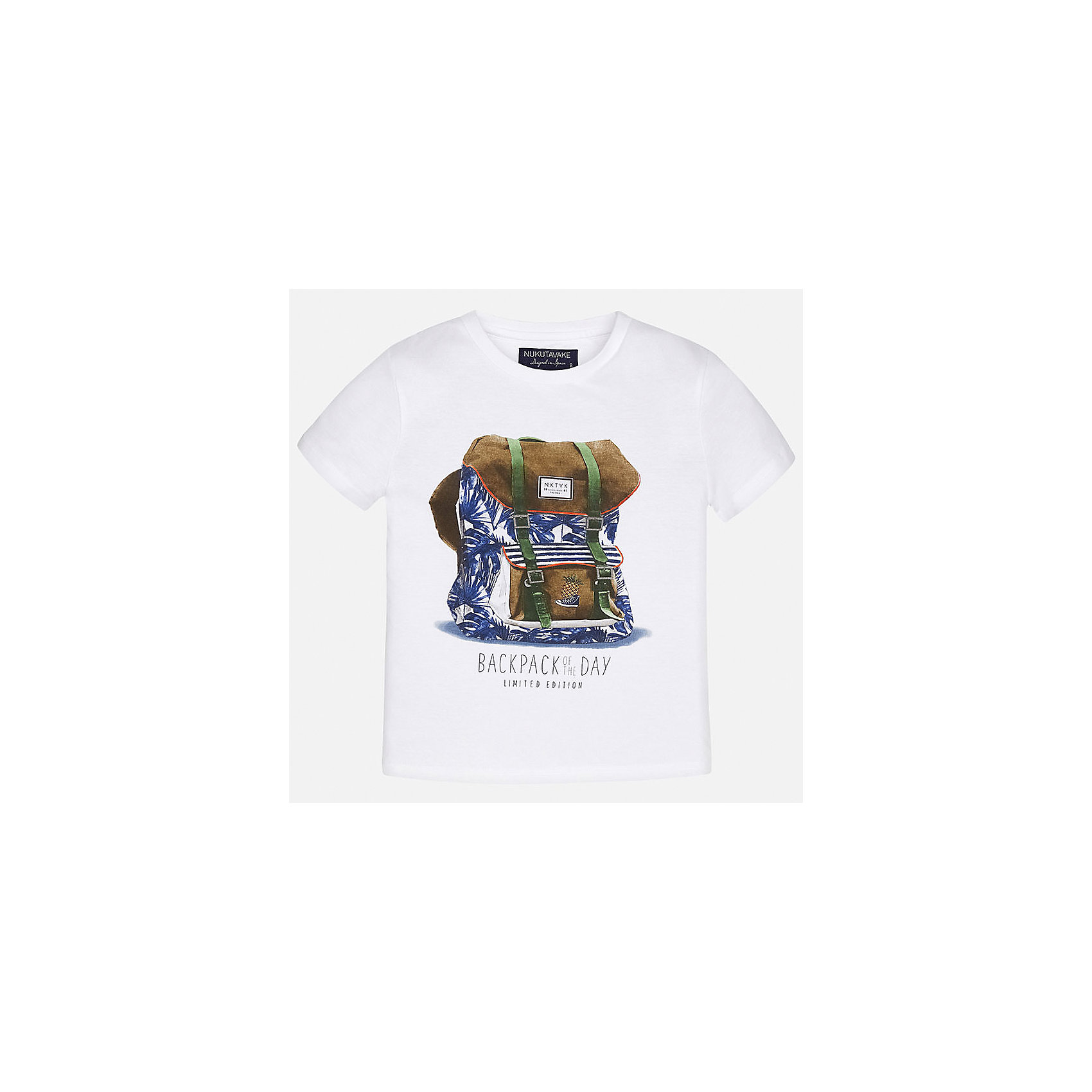 Футболка для мальчика MayoralХарактеристики товара:<br><br>• цвет: белый<br>• состав: 100% хлопок<br>• круглый горловой вырез<br>• декорирована принтом<br>• короткие рукава<br>• мягкая отделка горловины<br>• страна бренда: Испания<br><br>Стильная удобная футболка с принтом поможет разнообразить гардероб мальчика. Она отлично сочетается с брюками, шортами, джинсами. Универсальный крой и цвет позволяет подобрать к вещи низ разных расцветок. Практичное и стильное изделие! Хорошо смотрится и комфортно сидит на детях. В составе материала - только натуральный хлопок, гипоаллергенный, приятный на ощупь, дышащий. <br><br>Одежда, обувь и аксессуары от испанского бренда Mayoral полюбились детям и взрослым по всему миру. Модели этой марки - стильные и удобные. Для их производства используются только безопасные, качественные материалы и фурнитура. Порадуйте ребенка модными и красивыми вещами от Mayoral! <br><br>Футболку для мальчика от испанского бренда Mayoral (Майорал) можно купить в нашем интернет-магазине.<br><br>Ширина мм: 199<br>Глубина мм: 10<br>Высота мм: 161<br>Вес г: 151<br>Цвет: белый<br>Возраст от месяцев: 120<br>Возраст до месяцев: 132<br>Пол: Мужской<br>Возраст: Детский<br>Размер: 158,170,164,152,140,128/134<br>SKU: 5281302
