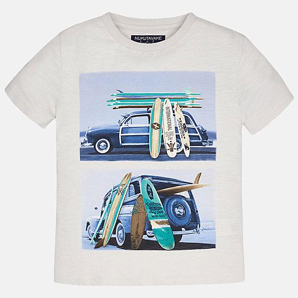 Футболка для мальчика MayoralФутболки, поло и топы<br>Характеристики товара:<br><br>• цвет: молочный<br>• состав: 100% хлопок<br>• круглый горловой вырез<br>• декорирована принтом<br>• короткие рукава<br>• мягкая отделка горловины<br>• страна бренда: Испания<br><br>Стильная удобная футболка с принтом поможет разнообразить гардероб мальчика. Она отлично сочетается с брюками, шортами, джинсами. Универсальный крой и цвет позволяет подобрать к вещи низ разных расцветок. Практичное и стильное изделие! Хорошо смотрится и комфортно сидит на детях. В составе материала - только натуральный хлопок, гипоаллергенный, приятный на ощупь, дышащий. <br><br>Одежда, обувь и аксессуары от испанского бренда Mayoral полюбились детям и взрослым по всему миру. Модели этой марки - стильные и удобные. Для их производства используются только безопасные, качественные материалы и фурнитура. Порадуйте ребенка модными и красивыми вещами от Mayoral! <br><br>Футболку для мальчика от испанского бренда Mayoral (Майорал) можно купить в нашем интернет-магазине.<br>Ширина мм: 199; Глубина мм: 10; Высота мм: 161; Вес г: 151; Цвет: бежевый; Возраст от месяцев: 84; Возраст до месяцев: 96; Пол: Мужской; Возраст: Детский; Размер: 128/134,170,140,152,158,164; SKU: 5281316;