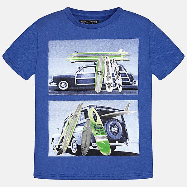 Футболка для мальчика MayoralФутболки, поло и топы<br>Характеристики товара:<br><br>• цвет: синий<br>• состав: 100% хлопок<br>• круглый горловой вырез<br>• декорирована принтом<br>• короткие рукава<br>• мягкая отделка горловины<br>• страна бренда: Испания<br><br>Стильная удобная футболка с принтом поможет разнообразить гардероб мальчика. Она отлично сочетается с брюками, шортами, джинсами. Универсальный крой и цвет позволяет подобрать к вещи низ разных расцветок. Практичное и стильное изделие! Хорошо смотрится и комфортно сидит на детях. В составе материала - только натуральный хлопок, гипоаллергенный, приятный на ощупь, дышащий. <br><br>Одежда, обувь и аксессуары от испанского бренда Mayoral полюбились детям и взрослым по всему миру. Модели этой марки - стильные и удобные. Для их производства используются только безопасные, качественные материалы и фурнитура. Порадуйте ребенка модными и красивыми вещами от Mayoral! <br><br>Футболку для мальчика от испанского бренда Mayoral (Майорал) можно купить в нашем интернет-магазине.<br><br>Ширина мм: 199<br>Глубина мм: 10<br>Высота мм: 161<br>Вес г: 151<br>Цвет: серый<br>Возраст от месяцев: 84<br>Возраст до месяцев: 96<br>Пол: Мужской<br>Возраст: Детский<br>Размер: 128/134,170,140,152,158,164<br>SKU: 5281323