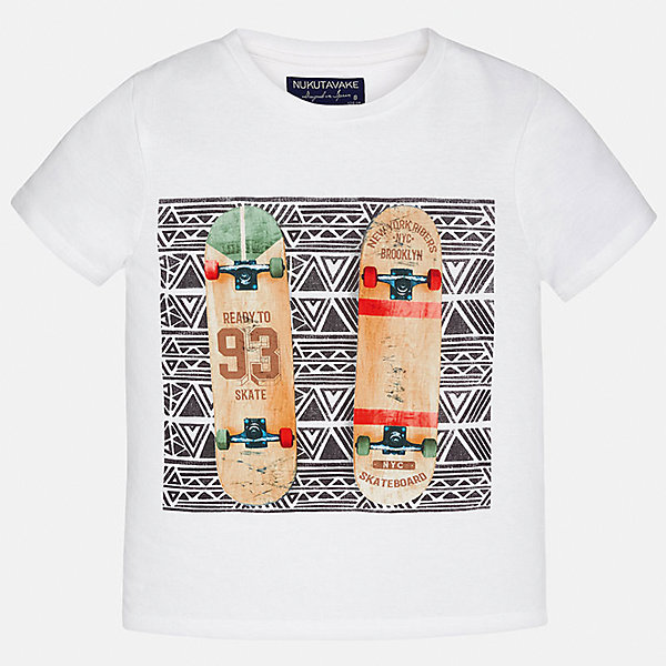 Футболка для мальчика MayoralФутболки, поло и топы<br>Характеристики товара:<br><br>• цвет: белый<br>• состав: 100% хлопок<br>• круглый горловой вырез<br>• декорирована принтом<br>• короткие рукава<br>• мягкая отделка горловины<br>• страна бренда: Испания<br><br>Стильная удобная футболка с принтом поможет разнообразить гардероб мальчика. Она отлично сочетается с брюками, шортами, джинсами. Универсальный крой и цвет позволяет подобрать к вещи низ разных расцветок. Практичное и стильное изделие! Хорошо смотрится и комфортно сидит на детях. В составе материала - только натуральный хлопок, гипоаллергенный, приятный на ощупь, дышащий. <br><br>Одежда, обувь и аксессуары от испанского бренда Mayoral полюбились детям и взрослым по всему миру. Модели этой марки - стильные и удобные. Для их производства используются только безопасные, качественные материалы и фурнитура. Порадуйте ребенка модными и красивыми вещами от Mayoral! <br><br>Футболку для мальчика от испанского бренда Mayoral (Майорал) можно купить в нашем интернет-магазине.<br>Ширина мм: 199; Глубина мм: 10; Высота мм: 161; Вес г: 151; Цвет: белый; Возраст от месяцев: 84; Возраст до месяцев: 96; Пол: Мужской; Возраст: Детский; Размер: 164,128/134,170,140,158,152; SKU: 5281416;