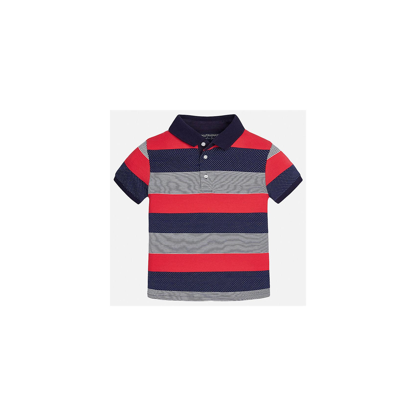 Футболка-поло для мальчика MayoralФутболки, поло и топы<br>Характеристики товара:<br><br>• цвет: красный/синий/серый<br>• состав: 100% хлопок<br>• отложной воротник<br>• декорирована вышивкой<br>• короткие рукава<br>• застежки: пуговицы<br>• страна бренда: Испания<br><br>Удобная стильная футболка-поло поможет разнообразить гардероб мальчика. Она отлично сочетается с брюками, шортами, джинсами. Универсальный крой и цвет позволяет подобрать к вещи низ разных расцветок. Практичное и стильное изделие! Хорошо смотрится и комфортно сидит на детях. В составе материала - только натуральный хлопок, гипоаллергенный, приятный на ощупь, дышащий. <br><br>Одежда, обувь и аксессуары от испанского бренда Mayoral полюбились детям и взрослым по всему миру. Модели этой марки - стильные и удобные. Для их производства используются только безопасные, качественные материалы и фурнитура. Порадуйте ребенка модными и красивыми вещами от Mayoral! <br><br>Футболку-поло для мальчика от испанского бренда Mayoral (Майорал) можно купить в нашем интернет-магазине.<br><br>Ширина мм: 230<br>Глубина мм: 40<br>Высота мм: 220<br>Вес г: 250<br>Цвет: разноцветный<br>Возраст от месяцев: 144<br>Возраст до месяцев: 156<br>Пол: Мужской<br>Возраст: Детский<br>Размер: 164,158,140,152,128/134,170<br>SKU: 5281465