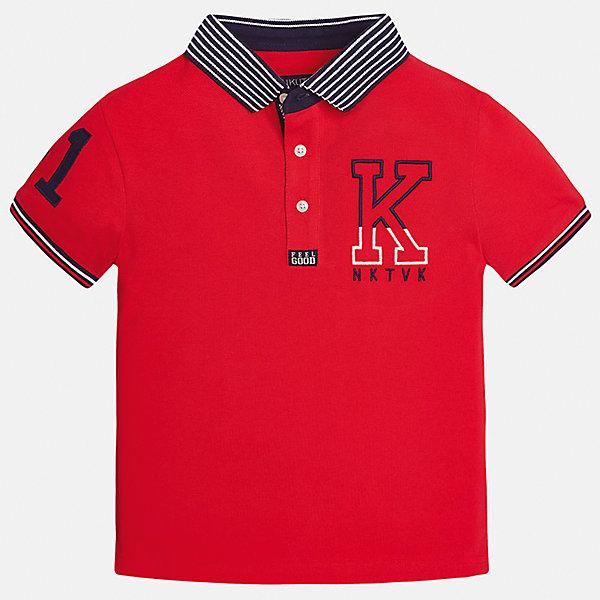 Футболка-поло для мальчика MayoralФутболки, поло и топы<br>Характеристики товара:<br><br>• цвет: красный<br>• состав: 100% хлопок<br>• отложной воротник<br>• декорирована вышивкой<br>• короткие рукава<br>• застежки: пуговицы<br>• страна бренда: Испания<br><br>Удобная стильная футболка-поло поможет разнообразить гардероб мальчика. Она отлично сочетается с брюками, шортами, джинсами. Универсальный крой и цвет позволяет подобрать к вещи низ разных расцветок. Практичное и стильное изделие! Хорошо смотрится и комфортно сидит на детях. В составе материала - только натуральный хлопок, гипоаллергенный, приятный на ощупь, дышащий. <br><br>Одежда, обувь и аксессуары от испанского бренда Mayoral полюбились детям и взрослым по всему миру. Модели этой марки - стильные и удобные. Для их производства используются только безопасные, качественные материалы и фурнитура. Порадуйте ребенка модными и красивыми вещами от Mayoral! <br><br>Футболка-поло для мальчика от испанского бренда Mayoral (Майорал) можно купить в нашем интернет-магазине.<br><br>Ширина мм: 230<br>Глубина мм: 40<br>Высота мм: 220<br>Вес г: 250<br>Цвет: красный<br>Возраст от месяцев: 120<br>Возраст до месяцев: 132<br>Пол: Мужской<br>Возраст: Детский<br>Размер: 170,164,158,140,152,128/134<br>SKU: 5281479