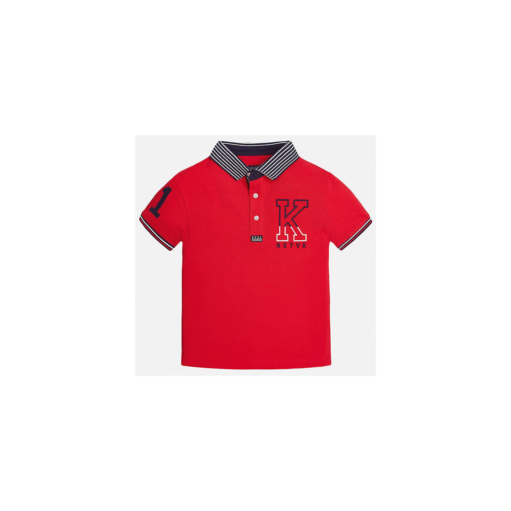 Футболка-поло для мальчика MayoralФутболки, поло и топы<br>Характеристики товара:<br><br>• цвет: красный<br>• состав: 100% хлопок<br>• отложной воротник<br>• декорирована вышивкой<br>• короткие рукава<br>• застежки: пуговицы<br>• страна бренда: Испания<br><br>Удобная стильная футболка-поло поможет разнообразить гардероб мальчика. Она отлично сочетается с брюками, шортами, джинсами. Универсальный крой и цвет позволяет подобрать к вещи низ разных расцветок. Практичное и стильное изделие! Хорошо смотрится и комфортно сидит на детях. В составе материала - только натуральный хлопок, гипоаллергенный, приятный на ощупь, дышащий. <br><br>Одежда, обувь и аксессуары от испанского бренда Mayoral полюбились детям и взрослым по всему миру. Модели этой марки - стильные и удобные. Для их производства используются только безопасные, качественные материалы и фурнитура. Порадуйте ребенка модными и красивыми вещами от Mayoral! <br><br>Футболка-поло для мальчика от испанского бренда Mayoral (Майорал) можно купить в нашем интернет-магазине.<br><br>Ширина мм: 230<br>Глубина мм: 40<br>Высота мм: 220<br>Вес г: 250<br>Цвет: красный<br>Возраст от месяцев: 84<br>Возраст до месяцев: 96<br>Пол: Мужской<br>Возраст: Детский<br>Размер: 128/134,170,140,164,158,152<br>SKU: 5281479