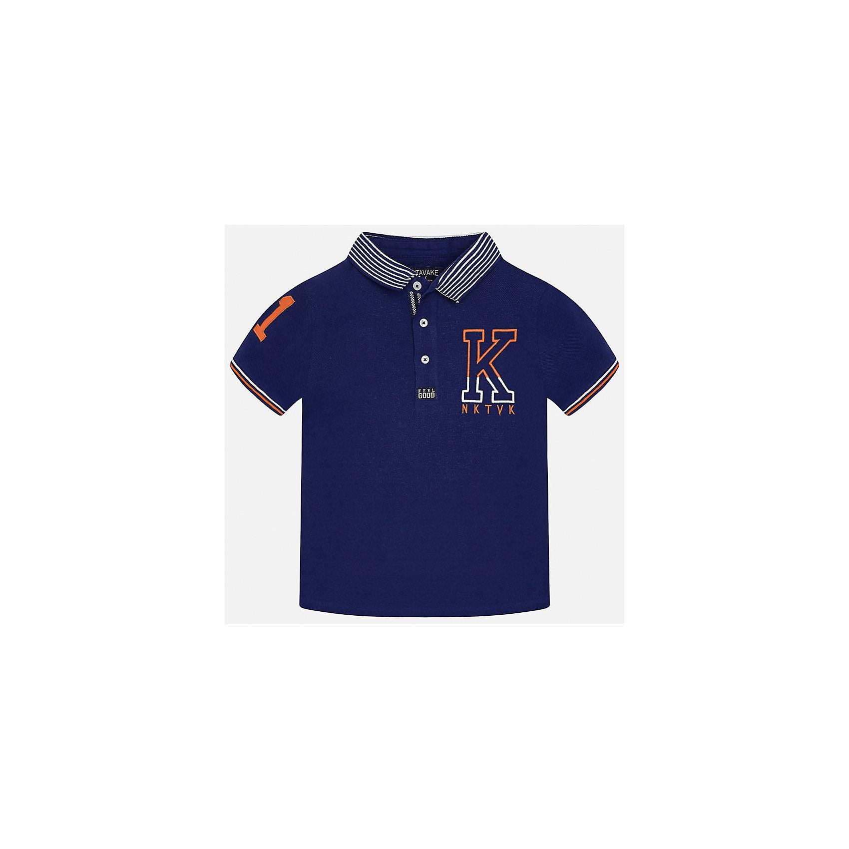 Футболка-поло для мальчика MayoralФутболки, поло и топы<br>Характеристики товара:<br><br>• цвет: синий<br>• состав: 100% хлопок<br>• отложной воротник<br>• декорирована вышивкой<br>• короткие рукава<br>• застежки: пуговицы<br>• страна бренда: Испания<br><br>Удобная стильная футболка-поло поможет разнообразить гардероб мальчика. Она отлично сочетается с брюками, шортами, джинсами. Универсальный крой и цвет позволяет подобрать к вещи низ разных расцветок. Практичное и стильное изделие! Хорошо смотрится и комфортно сидит на детях. В составе материала - только натуральный хлопок, гипоаллергенный, приятный на ощупь, дышащий. <br><br>Одежда, обувь и аксессуары от испанского бренда Mayoral полюбились детям и взрослым по всему миру. Модели этой марки - стильные и удобные. Для их производства используются только безопасные, качественные материалы и фурнитура. Порадуйте ребенка модными и красивыми вещами от Mayoral! <br><br>Футболку-поло для мальчика от испанского бренда Mayoral (Майорал) можно купить в нашем интернет-магазине.<br><br>Ширина мм: 230<br>Глубина мм: 40<br>Высота мм: 220<br>Вес г: 250<br>Цвет: черный<br>Возраст от месяцев: 156<br>Возраст до месяцев: 168<br>Пол: Мужской<br>Возраст: Детский<br>Размер: 170,164,128/134,140,152,158<br>SKU: 5281489