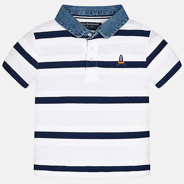 Футболка-поло для мальчика MayoralФутболки, поло и топы<br>Характеристики товара:<br><br>• цвет: белый<br>• состав: 100% хлопок<br>• отложной воротник<br>• декорирована вышивкой<br>• короткие рукава<br>• застежки: пуговицы<br>• страна бренда: Испания<br><br>Удобная стильная футболка-поло поможет разнообразить гардероб мальчика. Она отлично сочетается с брюками, шортами, джинсами. Универсальный крой и цвет позволяет подобрать к вещи низ разных расцветок. Практичное и стильное изделие! Хорошо смотрится и комфортно сидит на детях. В составе материала - только натуральный хлопок, гипоаллергенный, приятный на ощупь, дышащий. <br><br>Одежда, обувь и аксессуары от испанского бренда Mayoral полюбились детям и взрослым по всему миру. Модели этой марки - стильные и удобные. Для их производства используются только безопасные, качественные материалы и фурнитура. Порадуйте ребенка модными и красивыми вещами от Mayoral! <br><br>Футболку-поло для мальчика от испанского бренда Mayoral (Майорал) можно купить в нашем интернет-магазине.<br><br>Ширина мм: 199<br>Глубина мм: 10<br>Высота мм: 161<br>Вес г: 151<br>Цвет: белый<br>Возраст от месяцев: 84<br>Возраст до месяцев: 96<br>Пол: Мужской<br>Возраст: Детский<br>Размер: 128/134,152,158,170,140,164<br>SKU: 5281496
