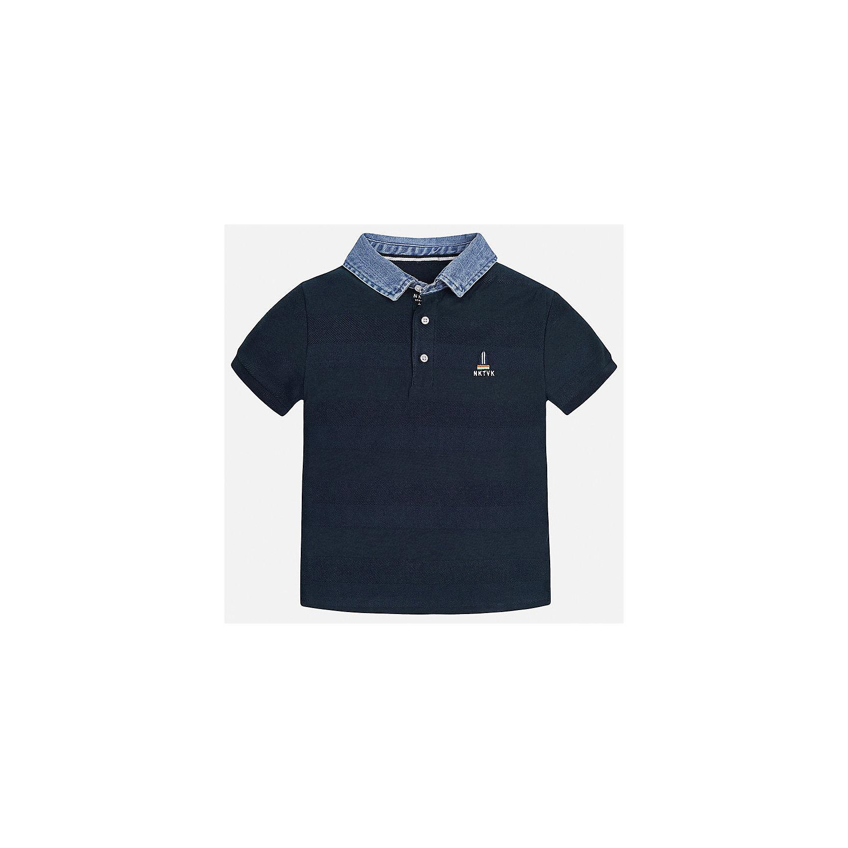 Футболка-поло для мальчика MayoralФутболки, поло и топы<br>Характеристики товара:<br><br>• цвет: синий<br>• состав: 100% хлопок<br>• отложной воротник<br>• декорирована вышивкой<br>• короткие рукава<br>• застежки: пуговицы<br>• страна бренда: Испания<br><br>Удобная стильная рубашка-поло поможет разнообразить гардероб мальчика. Она отлично сочетается с брюками, шортами, джинсами. Универсальный крой и цвет позволяет подобрать к вещи низ разных расцветок. Практичное и стильное изделие! Хорошо смотрится и комфортно сидит на детях. В составе материала - только натуральный хлопок, гипоаллергенный, приятный на ощупь, дышащий. <br><br>Одежда, обувь и аксессуары от испанского бренда Mayoral полюбились детям и взрослым по всему миру. Модели этой марки - стильные и удобные. Для их производства используются только безопасные, качественные материалы и фурнитура. Порадуйте ребенка модными и красивыми вещами от Mayoral! <br><br>Рубашку-поло для мальчика от испанского бренда Mayoral (Майорал) можно купить в нашем интернет-магазине.<br><br>Ширина мм: 199<br>Глубина мм: 10<br>Высота мм: 161<br>Вес г: 151<br>Цвет: синий<br>Возраст от месяцев: 156<br>Возраст до месяцев: 168<br>Пол: Мужской<br>Возраст: Детский<br>Размер: 170,158,140,152,164,128/134<br>SKU: 5281503