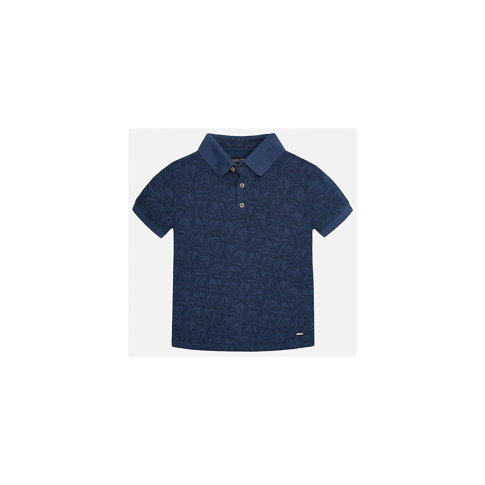 Рубашка-поло для мальчика MayoralХарактеристики товара:<br><br>• цвет: синий<br>• состав: 100% хлопок<br>• отложной воротник<br>• декорирована принтом<br>• короткие рукава<br>• застежки: пуговицы<br>• страна бренда: Испания<br><br>Модная футболка-поло поможет разнообразить гардероб мальчика. Она отлично сочетается с брюками, шортами, джинсами. Универсальный крой и цвет позволяет подобрать к вещи низ разных расцветок. Практичное и стильное изделие! Хорошо смотрится и комфортно сидит на детях. В составе материала - только натуральный хлопок, гипоаллергенный, приятный на ощупь, дышащий. <br><br>Одежда, обувь и аксессуары от испанского бренда Mayoral полюбились детям и взрослым по всему миру. Модели этой марки - стильные и удобные. Для их производства используются только безопасные, качественные материалы и фурнитура. Порадуйте ребенка модными и красивыми вещами от Mayoral! <br><br>Футболку-поло для мальчика от испанского бренда Mayoral (Майорал) можно купить в нашем интернет-магазине.<br><br>Ширина мм: 230<br>Глубина мм: 40<br>Высота мм: 220<br>Вес г: 250<br>Цвет: синий<br>Возраст от месяцев: 156<br>Возраст до месяцев: 168<br>Пол: Мужской<br>Возраст: Детский<br>Размер: 140,170,152,128/134,164,158<br>SKU: 5281531