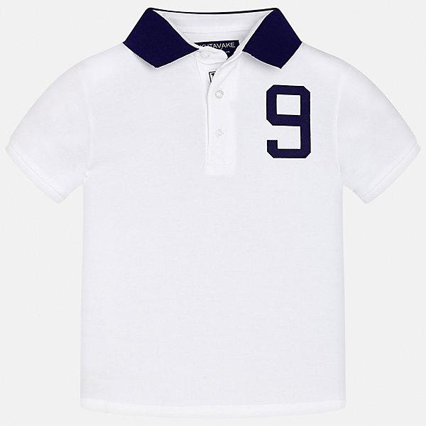 Футболка-поло для мальчика MayoralФутболки, поло и топы<br>Характеристики товара:<br><br>• цвет: белый<br>• состав: 95% хлопок, 5% эластан<br>• отложной воротник<br>• декорирована принтом<br>• короткие рукава<br>• застежки: пуговицы<br>• страна бренда: Испания<br><br>Модная футболка-поло поможет разнообразить гардероб мальчика. Она отлично сочетается с брюками, шортами, джинсами. Универсальный крой и цвет позволяет подобрать к вещи низ разных расцветок. Практичное и стильное изделие! Хорошо смотрится и комфортно сидит на детях. В составе материала - только натуральный хлопок, гипоаллергенный, приятный на ощупь, дышащий. <br><br>Одежда, обувь и аксессуары от испанского бренда Mayoral полюбились детям и взрослым по всему миру. Модели этой марки - стильные и удобные. Для их производства используются только безопасные, качественные материалы и фурнитура. Порадуйте ребенка модными и красивыми вещами от Mayoral! <br><br>Футболку-поло для мальчика от испанского бренда Mayoral (Майорал) можно купить в нашем интернет-магазине.<br><br>Ширина мм: 199<br>Глубина мм: 10<br>Высота мм: 161<br>Вес г: 151<br>Цвет: белый<br>Возраст от месяцев: 96<br>Возраст до месяцев: 108<br>Пол: Мужской<br>Возраст: Детский<br>Размер: 140,128/134,152,158,170,164<br>SKU: 5281554