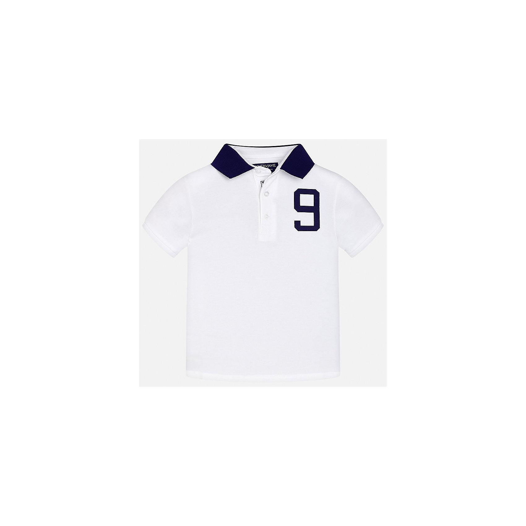 Футболка-поло для мальчика MayoralФутболки, поло и топы<br>Характеристики товара:<br><br>• цвет: белый<br>• состав: 95% хлопок, 5% эластан<br>• отложной воротник<br>• декорирована принтом<br>• короткие рукава<br>• застежки: пуговицы<br>• страна бренда: Испания<br><br>Модная футболка-поло поможет разнообразить гардероб мальчика. Она отлично сочетается с брюками, шортами, джинсами. Универсальный крой и цвет позволяет подобрать к вещи низ разных расцветок. Практичное и стильное изделие! Хорошо смотрится и комфортно сидит на детях. В составе материала - только натуральный хлопок, гипоаллергенный, приятный на ощупь, дышащий. <br><br>Одежда, обувь и аксессуары от испанского бренда Mayoral полюбились детям и взрослым по всему миру. Модели этой марки - стильные и удобные. Для их производства используются только безопасные, качественные материалы и фурнитура. Порадуйте ребенка модными и красивыми вещами от Mayoral! <br><br>Футболку-поло для мальчика от испанского бренда Mayoral (Майорал) можно купить в нашем интернет-магазине.<br><br>Ширина мм: 199<br>Глубина мм: 10<br>Высота мм: 161<br>Вес г: 151<br>Цвет: белый<br>Возраст от месяцев: 96<br>Возраст до месяцев: 108<br>Пол: Мужской<br>Возраст: Детский<br>Размер: 140,128/134,164,170,158,152<br>SKU: 5281554