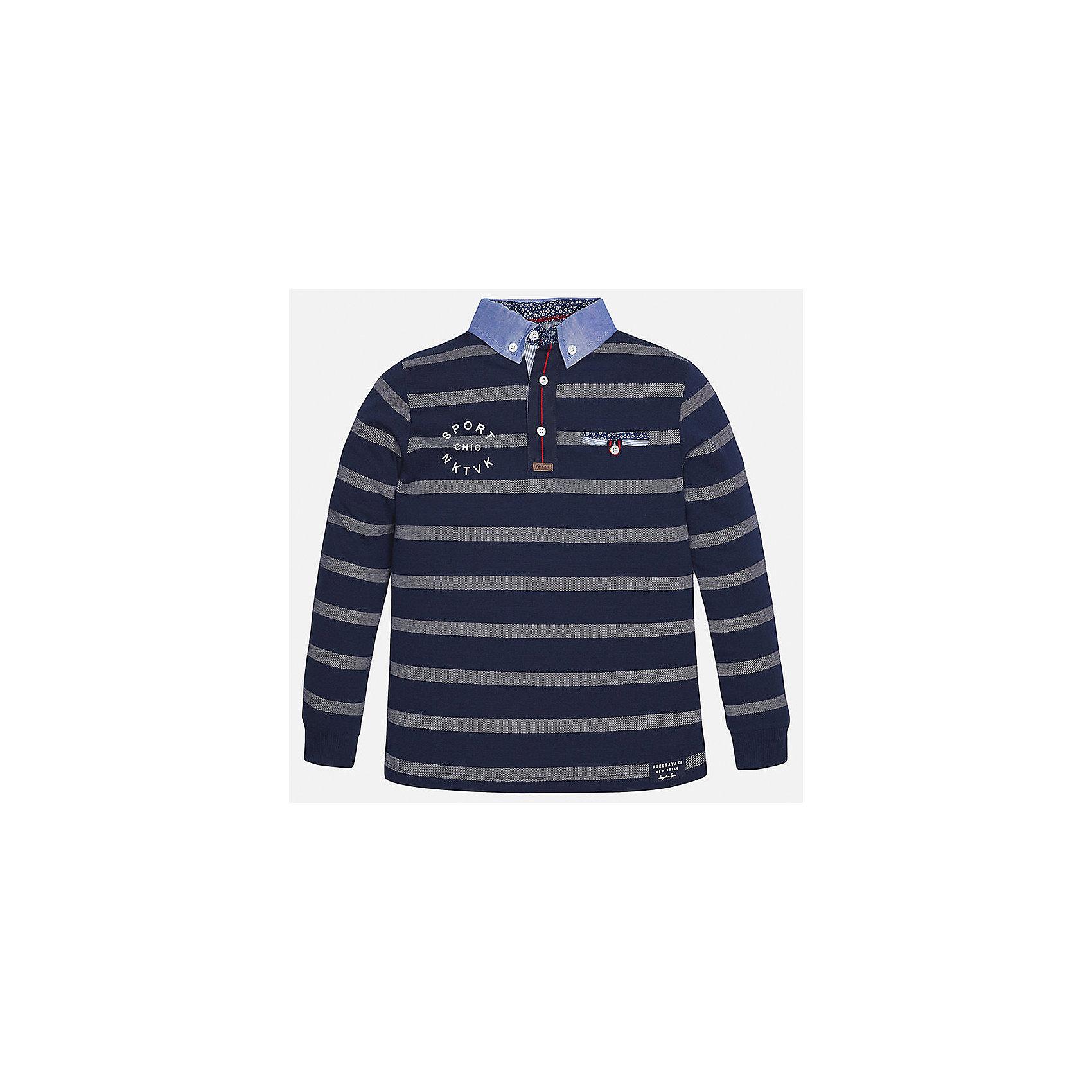 Футболка-поло с длинным рукавом для мальчика MayoralФутболки с длинным рукавом<br>Характеристики товара:<br><br>• цвет: синий<br>• состав: 100% хлопок<br>• отложной воротник<br>• декорирована вышивкой<br>• длинные рукава<br>• застежки: пуговицы<br>• страна бренда: Испания<br><br>Удобная стильная рубашка-поло поможет разнообразить гардероб мальчика. Она отлично сочетается с брюками, шортами, джинсами. Универсальный крой и цвет позволяет подобрать к вещи низ разных расцветок. Практичное и стильное изделие! Хорошо смотрится и комфортно сидит на детях. В составе материала - только натуральный хлопок, гипоаллергенный, приятный на ощупь, дышащий. <br><br>Одежда, обувь и аксессуары от испанского бренда Mayoral полюбились детям и взрослым по всему миру. Модели этой марки - стильные и удобные. Для их производства используются только безопасные, качественные материалы и фурнитура. Порадуйте ребенка модными и красивыми вещами от Mayoral! <br><br>Рубашку-поло для мальчика от испанского бренда Mayoral (Майорал) можно купить в нашем интернет-магазине.<br><br>Ширина мм: 230<br>Глубина мм: 40<br>Высота мм: 220<br>Вес г: 250<br>Цвет: синий<br>Возраст от месяцев: 144<br>Возраст до месяцев: 156<br>Пол: Мужской<br>Возраст: Детский<br>Размер: 164,152,140,170,158,128/134<br>SKU: 5281568