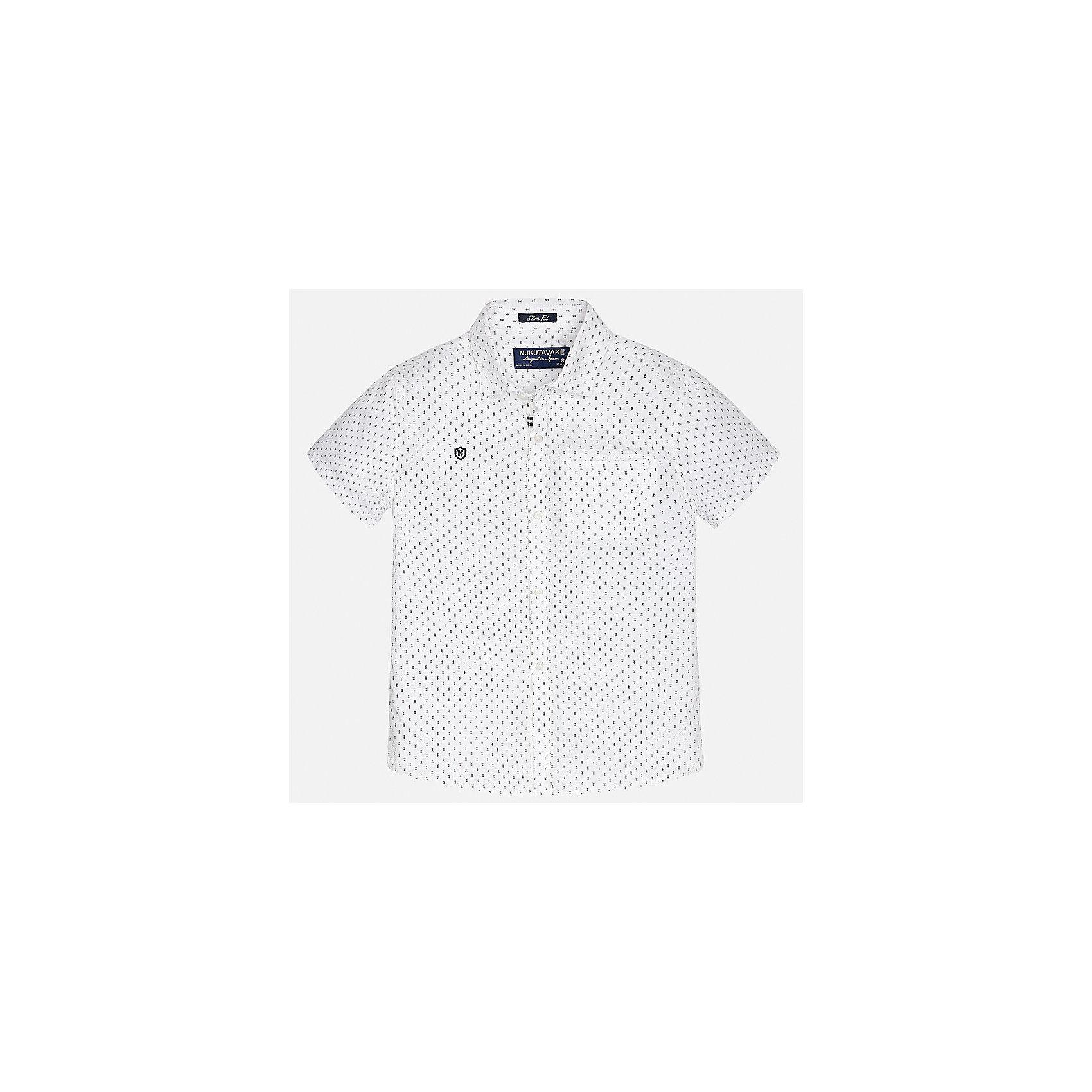 Рубашка для мальчика MayoralХарактеристики товара:<br><br>• цвет: белый<br>• состав: 100% хлопок<br>• отложной воротник<br>• декорирована вышивкой и карманом на груди<br>• короткие рукава<br>• застежки: пуговицы<br>• страна бренда: Испания<br><br>Модная рубашка поможет разнообразить гардероб мальчика. Она отлично сочетается с брюками, шортами, джинсами. Универсальный крой и цвет позволяет подобрать к вещи низ разных расцветок. Практичное и стильное изделие! Хорошо смотрится и комфортно сидит на детях. В составе материала - только натуральный хлопок, гипоаллергенный, приятный на ощупь, дышащий. <br><br>Одежда, обувь и аксессуары от испанского бренда Mayoral полюбились детям и взрослым по всему миру. Модели этой марки - стильные и удобные. Для их производства используются только безопасные, качественные материалы и фурнитура. Порадуйте ребенка модными и красивыми вещами от Mayoral! <br><br>Рубашку для мальчика от испанского бренда Mayoral (Майорал) можно купить в нашем интернет-магазине.<br><br>Ширина мм: 174<br>Глубина мм: 10<br>Высота мм: 169<br>Вес г: 157<br>Цвет: белый<br>Возраст от месяцев: 144<br>Возраст до месяцев: 156<br>Пол: Мужской<br>Возраст: Детский<br>Размер: 164,128/134,140,158,170,152<br>SKU: 5281575