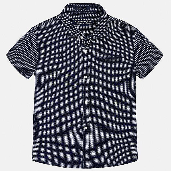 Рубашка для мальчика MayoralБлузки и рубашки<br>Характеристики товара:<br><br>• цвет: синий<br>• состав: 100% хлопок<br>• отложной воротник<br>• декорирована вышивкой и карманом на груди<br>• короткие рукава<br>• застежки: пуговицы<br>• страна бренда: Испания<br><br>Модная рубашка поможет разнообразить гардероб мальчика. Она отлично сочетается с брюками, шортами, джинсами. Универсальный крой и цвет позволяет подобрать к вещи низ разных расцветок. Практичное и стильное изделие! Хорошо смотрится и комфортно сидит на детях. В составе материала - только натуральный хлопок, гипоаллергенный, приятный на ощупь, дышащий. <br><br>Одежда, обувь и аксессуары от испанского бренда Mayoral полюбились детям и взрослым по всему миру. Модели этой марки - стильные и удобные. Для их производства используются только безопасные, качественные материалы и фурнитура. Порадуйте ребенка модными и красивыми вещами от Mayoral! <br><br>Рубашку для мальчика от испанского бренда Mayoral (Майорал) можно купить в нашем интернет-магазине.<br>Ширина мм: 174; Глубина мм: 10; Высота мм: 169; Вес г: 157; Цвет: синий; Возраст от месяцев: 132; Возраст до месяцев: 144; Пол: Мужской; Возраст: Детский; Размер: 158,170,128/134,164,140,152; SKU: 5281582;