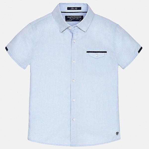 Рубашка для мальчика MayoralБлузки и рубашки<br>Характеристики товара:<br><br>• цвет: голубой<br>• состав: 100% хлопок<br>• отложной воротник<br>• декорирована карманом на груди<br>• короткие рукава<br>• застежки: пуговицы<br>• страна бренда: Испания<br><br>Модная рубашка поможет разнообразить гардероб мальчика. Она отлично сочетается с брюками, шортами, джинсами. Универсальный крой и цвет позволяет подобрать к вещи низ разных расцветок. Практичное и стильное изделие! Хорошо смотрится и комфортно сидит на детях. В составе материала - только натуральный хлопок, гипоаллергенный, приятный на ощупь, дышащий. <br><br>Одежда, обувь и аксессуары от испанского бренда Mayoral полюбились детям и взрослым по всему миру. Модели этой марки - стильные и удобные. Для их производства используются только безопасные, качественные материалы и фурнитура. Порадуйте ребенка модными и красивыми вещами от Mayoral! <br><br>Рубашку для мальчика от испанского бренда Mayoral (Майорал) можно купить в нашем интернет-магазине.<br>Ширина мм: 174; Глубина мм: 10; Высота мм: 169; Вес г: 157; Цвет: голубой; Возраст от месяцев: 156; Возраст до месяцев: 168; Пол: Мужской; Возраст: Детский; Размер: 170,164,158,152,140,128/134; SKU: 5281589;