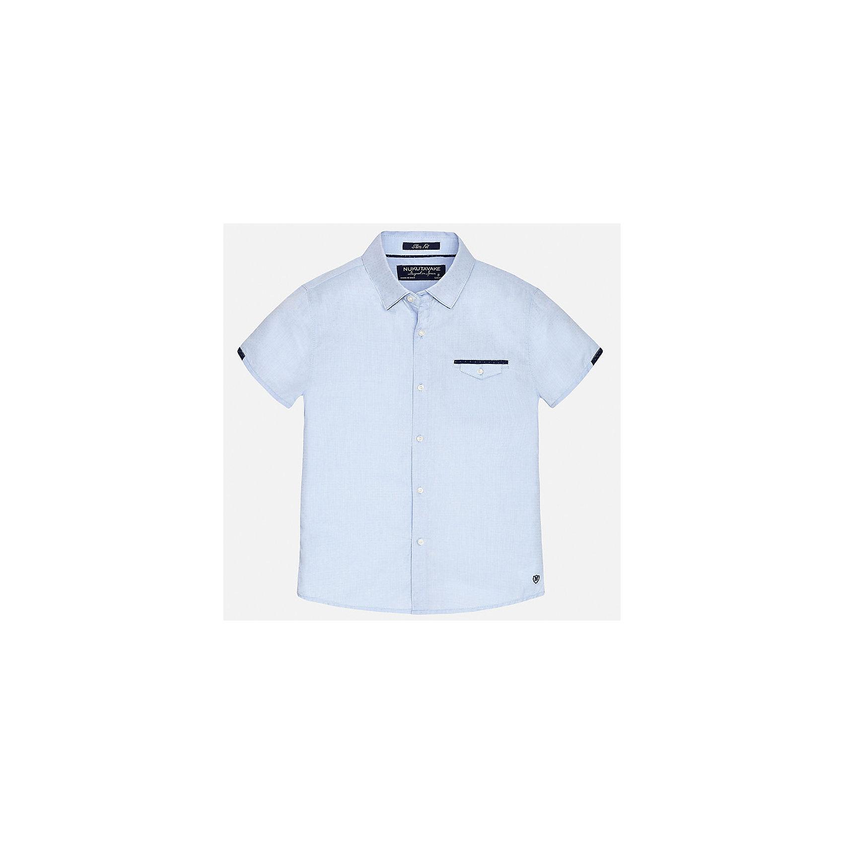 Рубашка для мальчика MayoralБлузки и рубашки<br>Характеристики товара:<br><br>• цвет: голубой<br>• состав: 100% хлопок<br>• отложной воротник<br>• декорирована карманом на груди<br>• короткие рукава<br>• застежки: пуговицы<br>• страна бренда: Испания<br><br>Модная рубашка поможет разнообразить гардероб мальчика. Она отлично сочетается с брюками, шортами, джинсами. Универсальный крой и цвет позволяет подобрать к вещи низ разных расцветок. Практичное и стильное изделие! Хорошо смотрится и комфортно сидит на детях. В составе материала - только натуральный хлопок, гипоаллергенный, приятный на ощупь, дышащий. <br><br>Одежда, обувь и аксессуары от испанского бренда Mayoral полюбились детям и взрослым по всему миру. Модели этой марки - стильные и удобные. Для их производства используются только безопасные, качественные материалы и фурнитура. Порадуйте ребенка модными и красивыми вещами от Mayoral! <br><br>Рубашку для мальчика от испанского бренда Mayoral (Майорал) можно купить в нашем интернет-магазине.<br><br>Ширина мм: 174<br>Глубина мм: 10<br>Высота мм: 169<br>Вес г: 157<br>Цвет: голубой<br>Возраст от месяцев: 144<br>Возраст до месяцев: 156<br>Пол: Мужской<br>Возраст: Детский<br>Размер: 164,170,128/134,140,152,158<br>SKU: 5281589