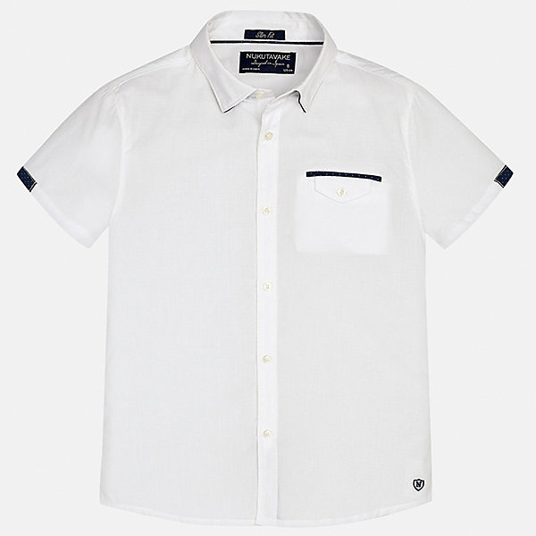 Рубашка для мальчика MayoralБлузки и рубашки<br>Характеристики товара:<br><br>• цвет: белый<br>• состав: 100% хлопок<br>• отложной воротник<br>• декорирована карманом на груди<br>• короткие рукава<br>• застежки: пуговицы<br>• страна бренда: Испания<br><br>Модная рубашка поможет разнообразить гардероб мальчика. Она отлично сочетается с брюками, шортами, джинсами. Универсальный крой и цвет позволяет подобрать к вещи низ разных расцветок. Практичное и стильное изделие! Хорошо смотрится и комфортно сидит на детях. В составе материала - только натуральный хлопок, гипоаллергенный, приятный на ощупь, дышащий. <br><br>Одежда, обувь и аксессуары от испанского бренда Mayoral полюбились детям и взрослым по всему миру. Модели этой марки - стильные и удобные. Для их производства используются только безопасные, качественные материалы и фурнитура. Порадуйте ребенка модными и красивыми вещами от Mayoral! <br><br>Рубашку для мальчика от испанского бренда Mayoral (Майорал) можно купить в нашем интернет-магазине.<br>Ширина мм: 174; Глубина мм: 10; Высота мм: 169; Вес г: 157; Цвет: белый; Возраст от месяцев: 156; Возраст до месяцев: 168; Пол: Мужской; Возраст: Детский; Размер: 170,164,152,140,128/134,158; SKU: 5281596;
