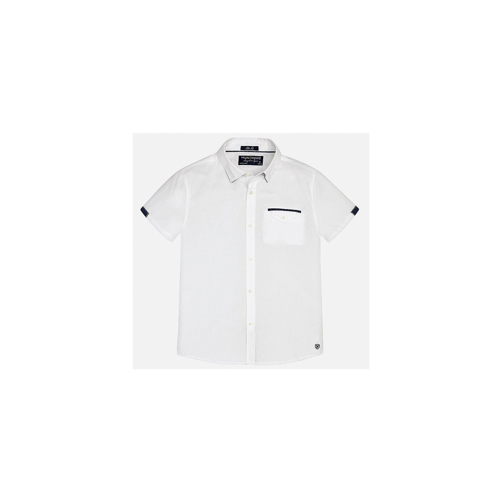 Рубашка для мальчика MayoralХарактеристики товара:<br><br>• цвет: белый<br>• состав: 100% хлопок<br>• отложной воротник<br>• декорирована карманом на груди<br>• короткие рукава<br>• застежки: пуговицы<br>• страна бренда: Испания<br><br>Модная рубашка поможет разнообразить гардероб мальчика. Она отлично сочетается с брюками, шортами, джинсами. Универсальный крой и цвет позволяет подобрать к вещи низ разных расцветок. Практичное и стильное изделие! Хорошо смотрится и комфортно сидит на детях. В составе материала - только натуральный хлопок, гипоаллергенный, приятный на ощупь, дышащий. <br><br>Одежда, обувь и аксессуары от испанского бренда Mayoral полюбились детям и взрослым по всему миру. Модели этой марки - стильные и удобные. Для их производства используются только безопасные, качественные материалы и фурнитура. Порадуйте ребенка модными и красивыми вещами от Mayoral! <br><br>Рубашку для мальчика от испанского бренда Mayoral (Майорал) можно купить в нашем интернет-магазине.<br><br>Ширина мм: 174<br>Глубина мм: 10<br>Высота мм: 169<br>Вес г: 157<br>Цвет: белый<br>Возраст от месяцев: 144<br>Возраст до месяцев: 156<br>Пол: Мужской<br>Возраст: Детский<br>Размер: 164,158,152,140,170,128/134<br>SKU: 5281596