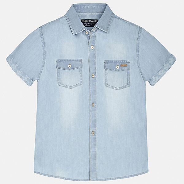 Рубашка джинсовая для мальчика MayoralБлузки и рубашки<br>Характеристики товара:<br><br>• цвет: голубой джинс<br>• состав: 100% хлопок<br>• отложной воротник<br>• декорирована карманами на груди<br>• короткие рукава<br>• застежки: пуговицы<br>• страна бренда: Испания<br><br>Модная рубашка поможет разнообразить гардероб мальчика. Она отлично сочетается с брюками, шортами, джинсами. Универсальный крой и цвет позволяет подобрать к вещи низ разных расцветок. Практичное и стильное изделие! Хорошо смотрится и комфортно сидит на детях. В составе материала - только натуральный хлопок, гипоаллергенный, приятный на ощупь, дышащий. <br><br>Одежда, обувь и аксессуары от испанского бренда Mayoral полюбились детям и взрослым по всему миру. Модели этой марки - стильные и удобные. Для их производства используются только безопасные, качественные материалы и фурнитура. Порадуйте ребенка модными и красивыми вещами от Mayoral! <br><br>Рубашку для мальчика от испанского бренда Mayoral (Майорал) можно купить в нашем интернет-магазине.<br><br>Ширина мм: 174<br>Глубина мм: 10<br>Высота мм: 169<br>Вес г: 157<br>Цвет: синий<br>Возраст от месяцев: 96<br>Возраст до месяцев: 108<br>Пол: Мужской<br>Возраст: Детский<br>Размер: 140,128/134,170,164,158,152<br>SKU: 5281603