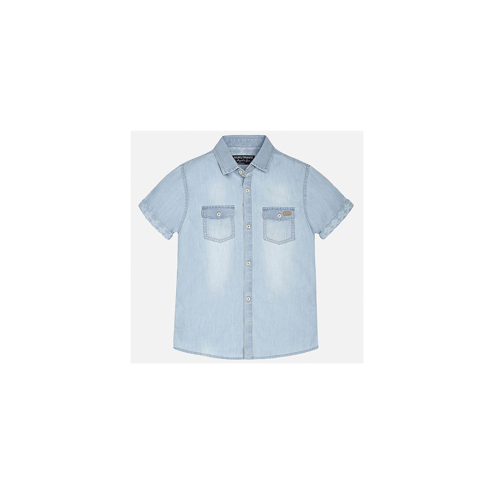 Рубашка джинсовая для мальчика MayoralБлузки и рубашки<br>Характеристики товара:<br><br>• цвет: голубой джинс<br>• состав: 100% хлопок<br>• отложной воротник<br>• декорирована карманами на груди<br>• короткие рукава<br>• застежки: пуговицы<br>• страна бренда: Испания<br><br>Модная рубашка поможет разнообразить гардероб мальчика. Она отлично сочетается с брюками, шортами, джинсами. Универсальный крой и цвет позволяет подобрать к вещи низ разных расцветок. Практичное и стильное изделие! Хорошо смотрится и комфортно сидит на детях. В составе материала - только натуральный хлопок, гипоаллергенный, приятный на ощупь, дышащий. <br><br>Одежда, обувь и аксессуары от испанского бренда Mayoral полюбились детям и взрослым по всему миру. Модели этой марки - стильные и удобные. Для их производства используются только безопасные, качественные материалы и фурнитура. Порадуйте ребенка модными и красивыми вещами от Mayoral! <br><br>Рубашку для мальчика от испанского бренда Mayoral (Майорал) можно купить в нашем интернет-магазине.<br><br>Ширина мм: 174<br>Глубина мм: 10<br>Высота мм: 169<br>Вес г: 157<br>Цвет: синий<br>Возраст от месяцев: 120<br>Возраст до месяцев: 132<br>Пол: Мужской<br>Возраст: Детский<br>Размер: 152,140,128/134,170,164,158<br>SKU: 5281603