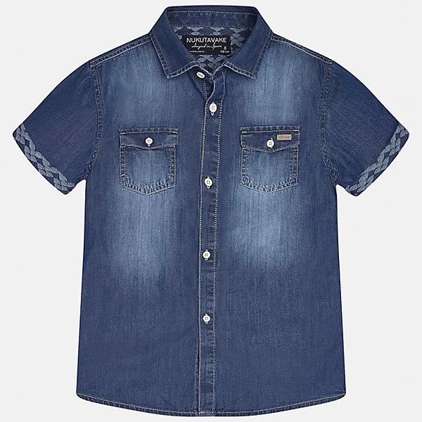 Рубашка джинсовая для мальчика MayoralБлузки и рубашки<br>Характеристики товара:<br><br>• цвет: синий<br>• состав: 100% хлопок<br>• отложной воротник<br>• декорирована карманами на груди<br>• короткие рукава<br>• застежки: пуговицы<br>• страна бренда: Испания<br><br>Модная рубашка поможет разнообразить гардероб мальчика. Она отлично сочетается с брюками, шортами, джинсами. Универсальный крой и цвет позволяет подобрать к вещи низ разных расцветок. Практичное и стильное изделие! Хорошо смотрится и комфортно сидит на детях. В составе материала - только натуральный хлопок, гипоаллергенный, приятный на ощупь, дышащий. <br><br>Одежда, обувь и аксессуары от испанского бренда Mayoral полюбились детям и взрослым по всему миру. Модели этой марки - стильные и удобные. Для их производства используются только безопасные, качественные материалы и фурнитура. Порадуйте ребенка модными и красивыми вещами от Mayoral! <br><br>Рубашку для мальчика от испанского бренда Mayoral (Майорал) можно купить в нашем интернет-магазине.<br>Ширина мм: 174; Глубина мм: 10; Высота мм: 169; Вес г: 157; Цвет: синий; Возраст от месяцев: 84; Возраст до месяцев: 96; Пол: Мужской; Возраст: Детский; Размер: 128/134,170,164,158,152,140; SKU: 5281610;