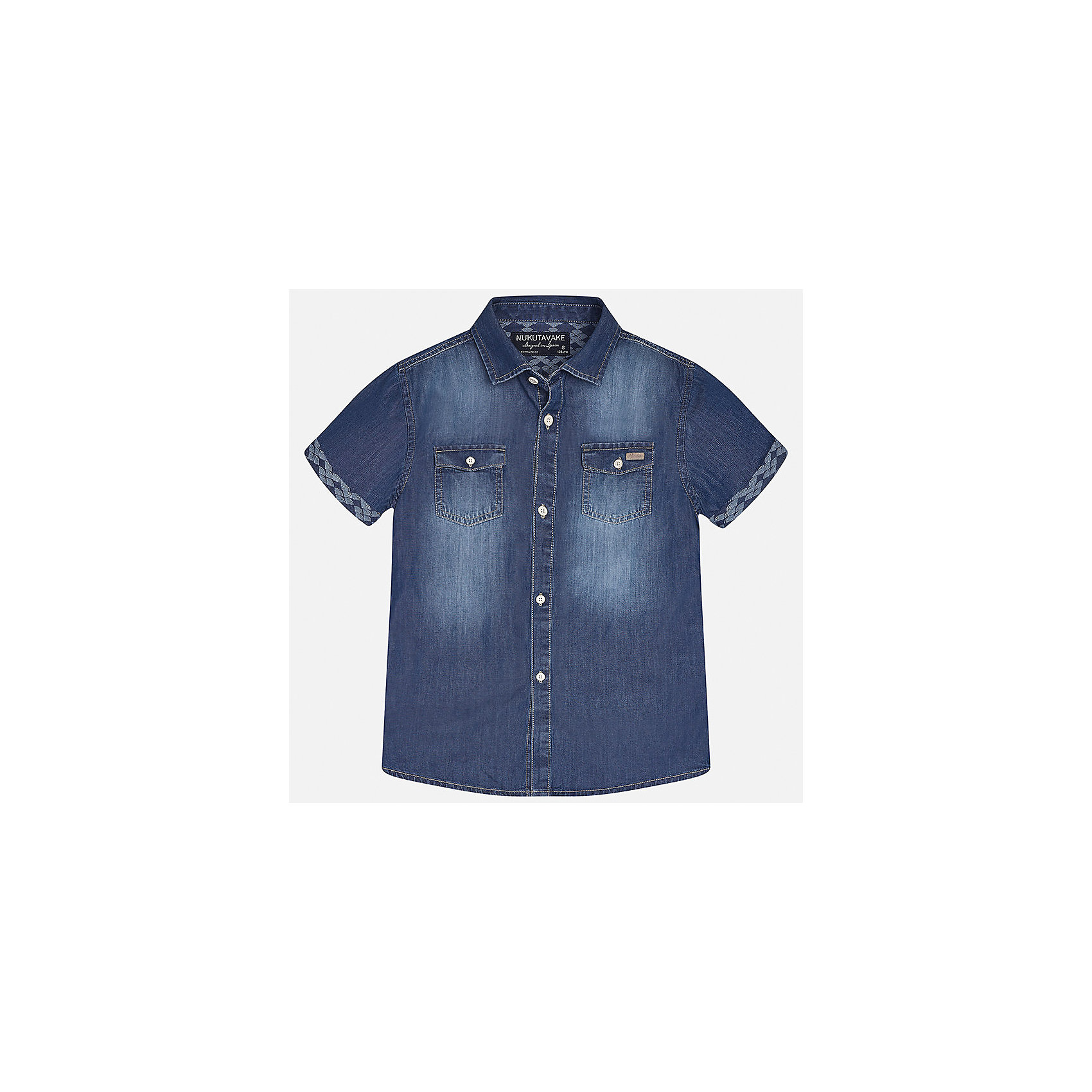 Рубашка джинсовая для мальчика MayoralХарактеристики товара:<br><br>• цвет: синий<br>• состав: 100% хлопок<br>• отложной воротник<br>• декорирована карманами на груди<br>• короткие рукава<br>• застежки: пуговицы<br>• страна бренда: Испания<br><br>Модная рубашка поможет разнообразить гардероб мальчика. Она отлично сочетается с брюками, шортами, джинсами. Универсальный крой и цвет позволяет подобрать к вещи низ разных расцветок. Практичное и стильное изделие! Хорошо смотрится и комфортно сидит на детях. В составе материала - только натуральный хлопок, гипоаллергенный, приятный на ощупь, дышащий. <br><br>Одежда, обувь и аксессуары от испанского бренда Mayoral полюбились детям и взрослым по всему миру. Модели этой марки - стильные и удобные. Для их производства используются только безопасные, качественные материалы и фурнитура. Порадуйте ребенка модными и красивыми вещами от Mayoral! <br><br>Рубашку для мальчика от испанского бренда Mayoral (Майорал) можно купить в нашем интернет-магазине.<br><br>Ширина мм: 174<br>Глубина мм: 10<br>Высота мм: 169<br>Вес г: 157<br>Цвет: синий<br>Возраст от месяцев: 84<br>Возраст до месяцев: 96<br>Пол: Мужской<br>Возраст: Детский<br>Размер: 128/134,170,164,158,152,140<br>SKU: 5281610