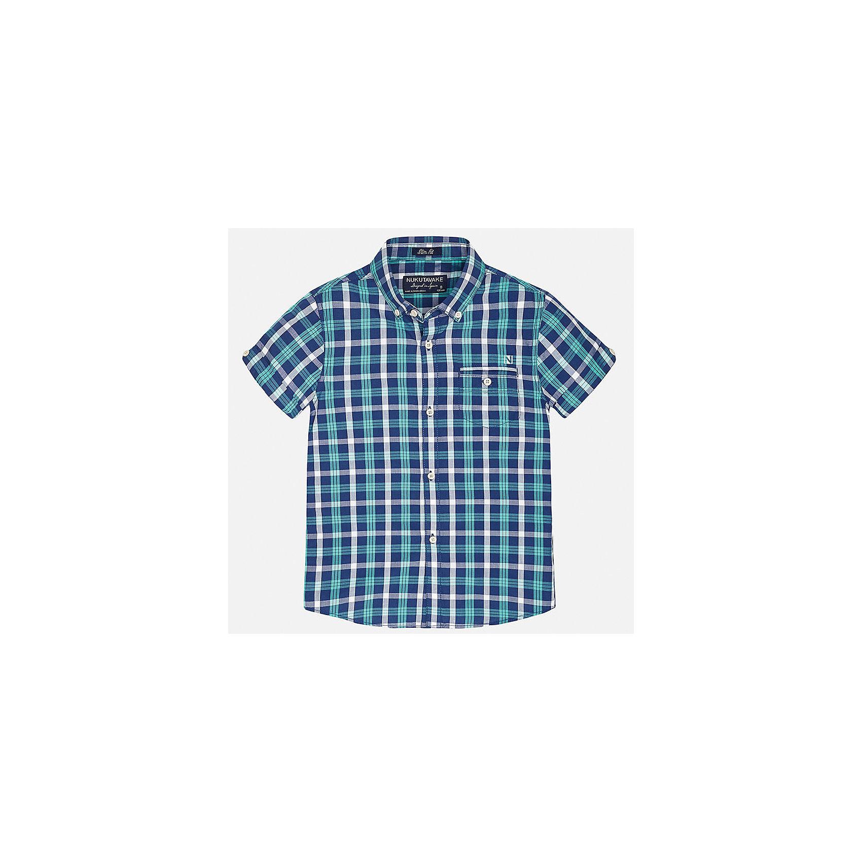 Рубашка для мальчика MayoralБлузки и рубашки<br>Характеристики товара:<br><br>• цвет: сине-зеленый в клетку<br>• состав: 100% хлопок<br>• отложной воротник<br>• декорирована карманом на груди<br>• короткие рукава<br>• застежки: пуговицы<br>• страна бренда: Испания<br><br>Модная рубашка поможет разнообразить гардероб мальчика. Она отлично сочетается с брюками, шортами, джинсами. Универсальный крой и цвет позволяет подобрать к вещи низ разных расцветок. Практичное и стильное изделие! Хорошо смотрится и комфортно сидит на детях. В составе материала - только натуральный хлопок, гипоаллергенный, приятный на ощупь, дышащий. <br><br>Одежда, обувь и аксессуары от испанского бренда Mayoral полюбились детям и взрослым по всему миру. Модели этой марки - стильные и удобные. Для их производства используются только безопасные, качественные материалы и фурнитура. Порадуйте ребенка модными и красивыми вещами от Mayoral! <br><br>Рубашку для мальчика от испанского бренда Mayoral (Майорал) можно купить в нашем интернет-магазине.<br><br>Ширина мм: 174<br>Глубина мм: 10<br>Высота мм: 169<br>Вес г: 157<br>Цвет: синий<br>Возраст от месяцев: 84<br>Возраст до месяцев: 96<br>Пол: Мужской<br>Возраст: Детский<br>Размер: 128/134,170,164,158,152,140<br>SKU: 5281617