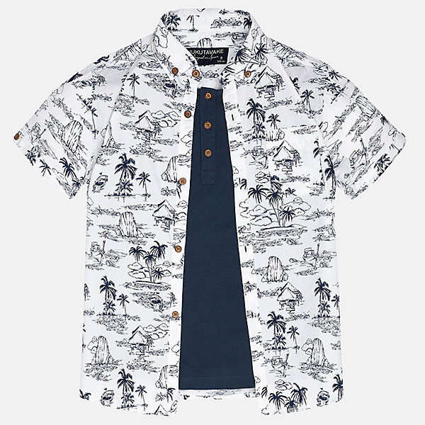 Рубашка для мальчика MayoralБлузки и рубашки<br>Характеристики товара:<br><br>• цвет: белый принт/синий<br>• состав: 100% хлопок<br>• отложной воротник<br>• декорирована карманом на груди<br>• короткие рукава<br>• застежки: пуговицы<br>• страна бренда: Испания<br><br>Модная рубашка поможет разнообразить гардероб мальчика. Она отлично сочетается с брюками, шортами, джинсами. Универсальный крой и цвет позволяет подобрать к вещи низ разных расцветок. Практичное и стильное изделие! Хорошо смотрится и комфортно сидит на детях. В составе материала - только натуральный хлопок, гипоаллергенный, приятный на ощупь, дышащий. <br><br>Одежда, обувь и аксессуары от испанского бренда Mayoral полюбились детям и взрослым по всему миру. Модели этой марки - стильные и удобные. Для их производства используются только безопасные, качественные материалы и фурнитура. Порадуйте ребенка модными и красивыми вещами от Mayoral! <br><br>Рубашку для мальчика от испанского бренда Mayoral (Майорал) можно купить в нашем интернет-магазине.<br><br>Ширина мм: 174<br>Глубина мм: 10<br>Высота мм: 169<br>Вес г: 157<br>Цвет: белый<br>Возраст от месяцев: 132<br>Возраст до месяцев: 144<br>Пол: Мужской<br>Возраст: Детский<br>Размер: 158,164,170,128/134,140,152<br>SKU: 5281624