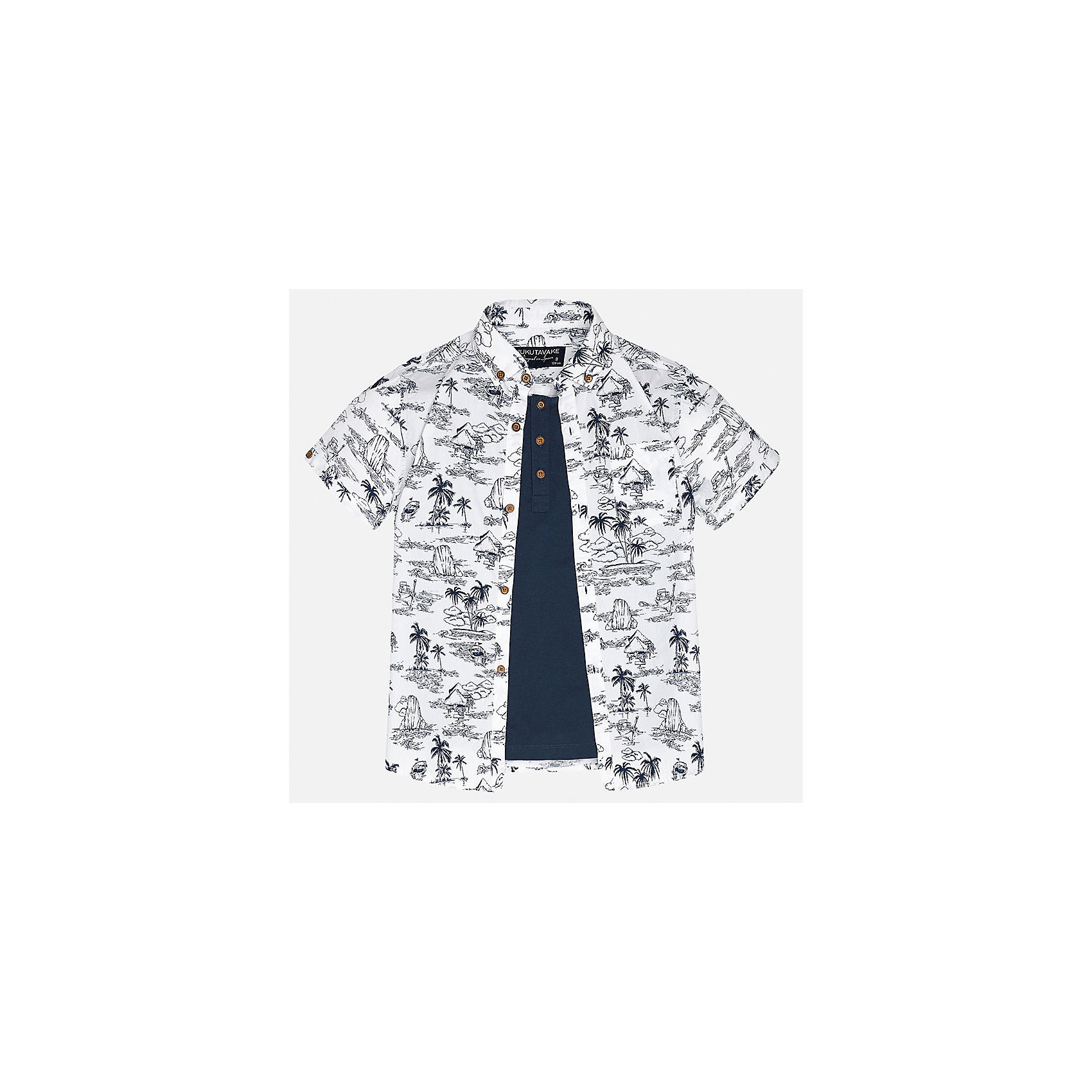 Рубашка для мальчика MayoralБлузки и рубашки<br>Характеристики товара:<br><br>• цвет: белый принт/синий<br>• состав: 100% хлопок<br>• отложной воротник<br>• декорирована карманом на груди<br>• короткие рукава<br>• застежки: пуговицы<br>• страна бренда: Испания<br><br>Модная рубашка поможет разнообразить гардероб мальчика. Она отлично сочетается с брюками, шортами, джинсами. Универсальный крой и цвет позволяет подобрать к вещи низ разных расцветок. Практичное и стильное изделие! Хорошо смотрится и комфортно сидит на детях. В составе материала - только натуральный хлопок, гипоаллергенный, приятный на ощупь, дышащий. <br><br>Одежда, обувь и аксессуары от испанского бренда Mayoral полюбились детям и взрослым по всему миру. Модели этой марки - стильные и удобные. Для их производства используются только безопасные, качественные материалы и фурнитура. Порадуйте ребенка модными и красивыми вещами от Mayoral! <br><br>Рубашку для мальчика от испанского бренда Mayoral (Майорал) можно купить в нашем интернет-магазине.<br><br>Ширина мм: 174<br>Глубина мм: 10<br>Высота мм: 169<br>Вес г: 157<br>Цвет: белый<br>Возраст от месяцев: 144<br>Возраст до месяцев: 156<br>Пол: Мужской<br>Возраст: Детский<br>Размер: 152,140,128/134,170,164,158<br>SKU: 5281624