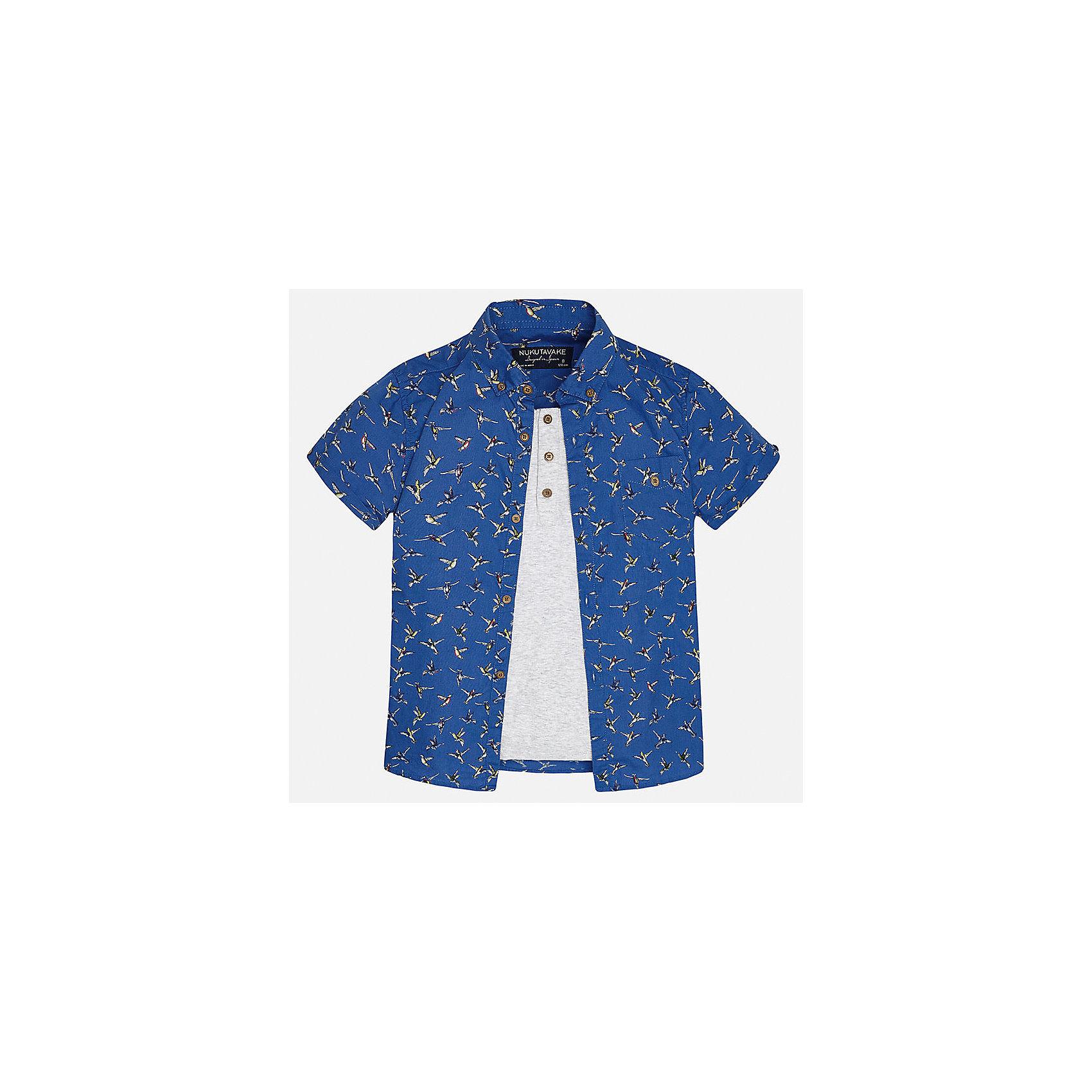 Рубашка для мальчика MayoralБлузки и рубашки<br>Характеристики товара:<br><br>• цвет: синий/серый<br>• состав: 100% хлопок<br>• отложной воротник<br>• декорирована карманом на груди<br>• короткие рукава<br>• застежки: пуговицы<br>• страна бренда: Испания<br><br>Модная рубашка поможет разнообразить гардероб мальчика. Она отлично сочетается с брюками, шортами, джинсами. Универсальный крой и цвет позволяет подобрать к вещи низ разных расцветок. Практичное и стильное изделие! Хорошо смотрится и комфортно сидит на детях. В составе материала - только натуральный хлопок, гипоаллергенный, приятный на ощупь, дышащий. <br><br>Одежда, обувь и аксессуары от испанского бренда Mayoral полюбились детям и взрослым по всему миру. Модели этой марки - стильные и удобные. Для их производства используются только безопасные, качественные материалы и фурнитура. Порадуйте ребенка модными и красивыми вещами от Mayoral! <br><br>Рубашку для мальчика от испанского бренда Mayoral (Майорал) можно купить в нашем интернет-магазине.<br><br>Ширина мм: 174<br>Глубина мм: 10<br>Высота мм: 169<br>Вес г: 157<br>Цвет: серый<br>Возраст от месяцев: 120<br>Возраст до месяцев: 132<br>Пол: Мужской<br>Возраст: Детский<br>Размер: 152,164,158,140,170,128/134<br>SKU: 5281631