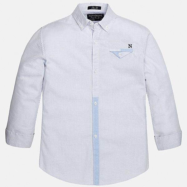 Рубашка для мальчика MayoralБлузки и рубашки<br>Характеристики товара:<br><br>• цвет: голубой<br>• состав: 100% хлопок<br>• отложной воротник<br>• декорирована карманом на груди<br>• рукава с отворотами<br>• застежки: пуговицы<br>• страна бренда: Испания<br><br>Модная рубашка поможет разнообразить гардероб мальчика. Она отлично сочетается с брюками, шортами, джинсами. Универсальный крой и цвет позволяет подобрать к вещи низ разных расцветок. Практичное и стильное изделие! Хорошо смотрится и комфортно сидит на детях. В составе материала - только натуральный хлопок, гипоаллергенный, приятный на ощупь, дышащий. <br><br>Одежда, обувь и аксессуары от испанского бренда Mayoral полюбились детям и взрослым по всему миру. Модели этой марки - стильные и удобные. Для их производства используются только безопасные, качественные материалы и фурнитура. Порадуйте ребенка модными и красивыми вещами от Mayoral! <br><br>Рубашку для мальчика от испанского бренда Mayoral (Майорал) можно купить в нашем интернет-магазине.<br>Ширина мм: 174; Глубина мм: 10; Высота мм: 169; Вес г: 157; Цвет: голубой; Возраст от месяцев: 132; Возраст до месяцев: 144; Пол: Мужской; Возраст: Детский; Размер: 158,140,164,152,128/134,170; SKU: 5281645;