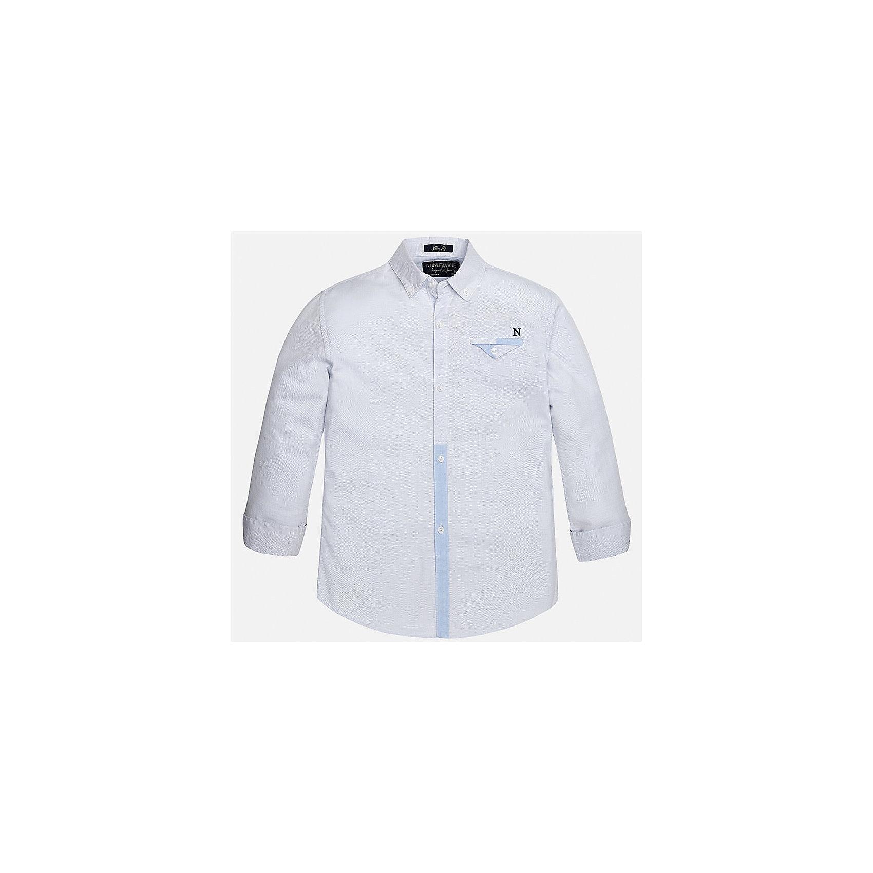 Рубашка для мальчика MayoralХарактеристики товара:<br><br>• цвет: голубой<br>• состав: 100% хлопок<br>• отложной воротник<br>• декорирована карманом на груди<br>• рукава с отворотами<br>• застежки: пуговицы<br>• страна бренда: Испания<br><br>Модная рубашка поможет разнообразить гардероб мальчика. Она отлично сочетается с брюками, шортами, джинсами. Универсальный крой и цвет позволяет подобрать к вещи низ разных расцветок. Практичное и стильное изделие! Хорошо смотрится и комфортно сидит на детях. В составе материала - только натуральный хлопок, гипоаллергенный, приятный на ощупь, дышащий. <br><br>Одежда, обувь и аксессуары от испанского бренда Mayoral полюбились детям и взрослым по всему миру. Модели этой марки - стильные и удобные. Для их производства используются только безопасные, качественные материалы и фурнитура. Порадуйте ребенка модными и красивыми вещами от Mayoral! <br><br>Рубашку для мальчика от испанского бренда Mayoral (Майорал) можно купить в нашем интернет-магазине.<br><br>Ширина мм: 174<br>Глубина мм: 10<br>Высота мм: 169<br>Вес г: 157<br>Цвет: голубой<br>Возраст от месяцев: 96<br>Возраст до месяцев: 108<br>Пол: Мужской<br>Возраст: Детский<br>Размер: 140,170,128/134,152,164,158<br>SKU: 5281645